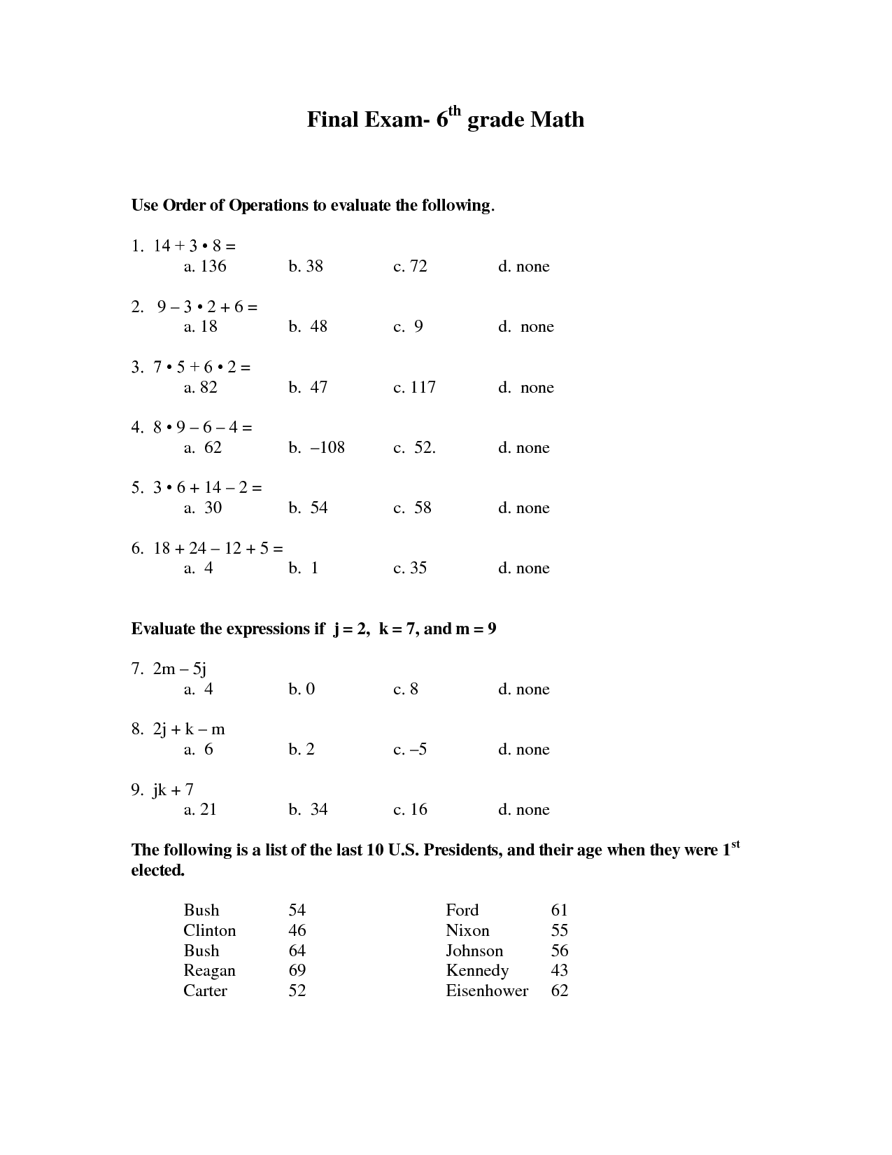 7 Best Images Of 6th Grade Math Practice Worksheets