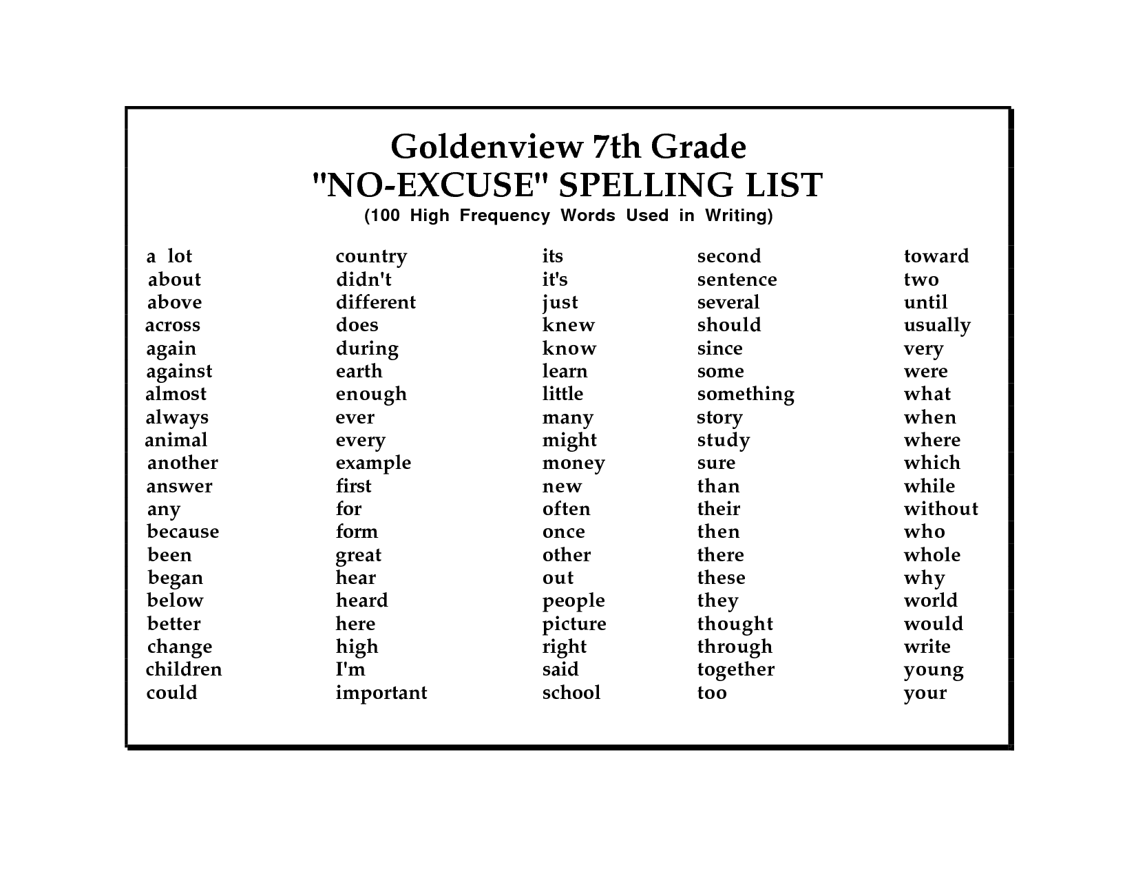 Free 10th Grade Spelling Worksheet