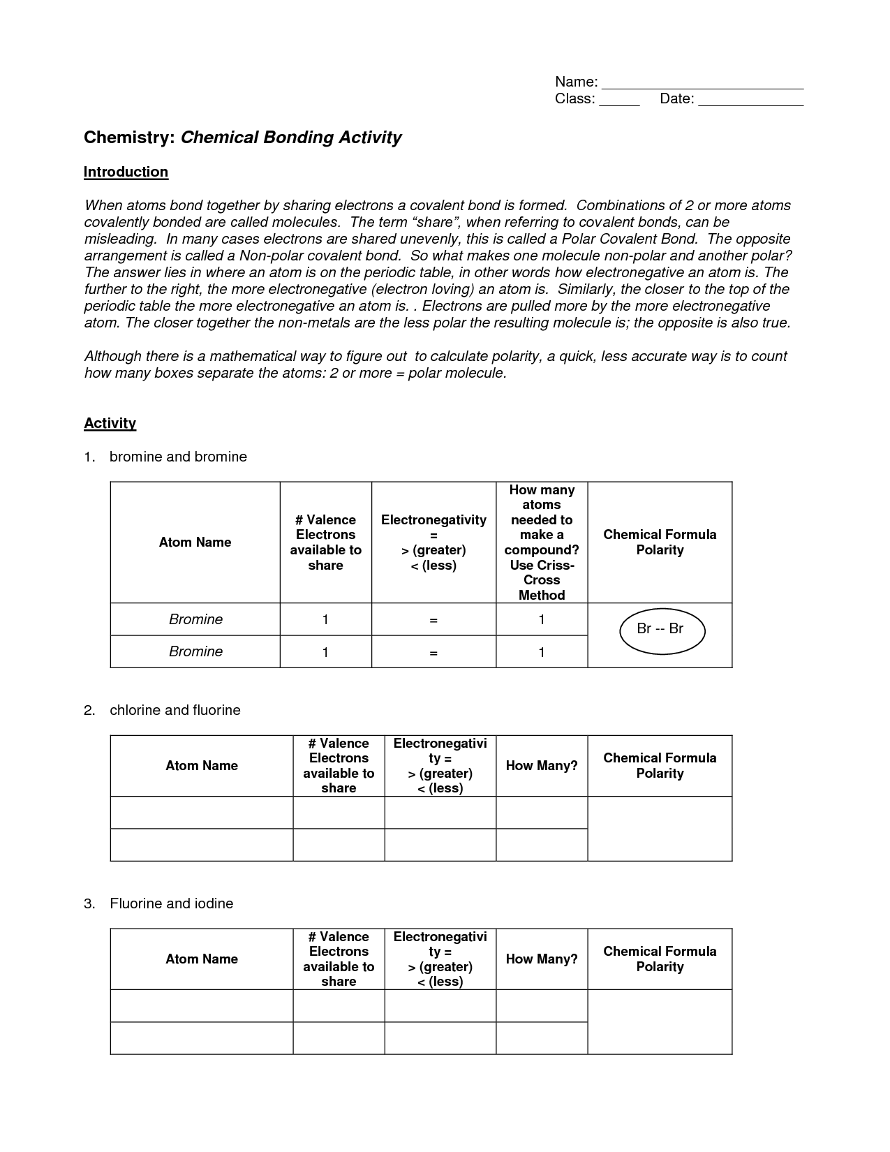 Worksheet Chemical Bonding Answers