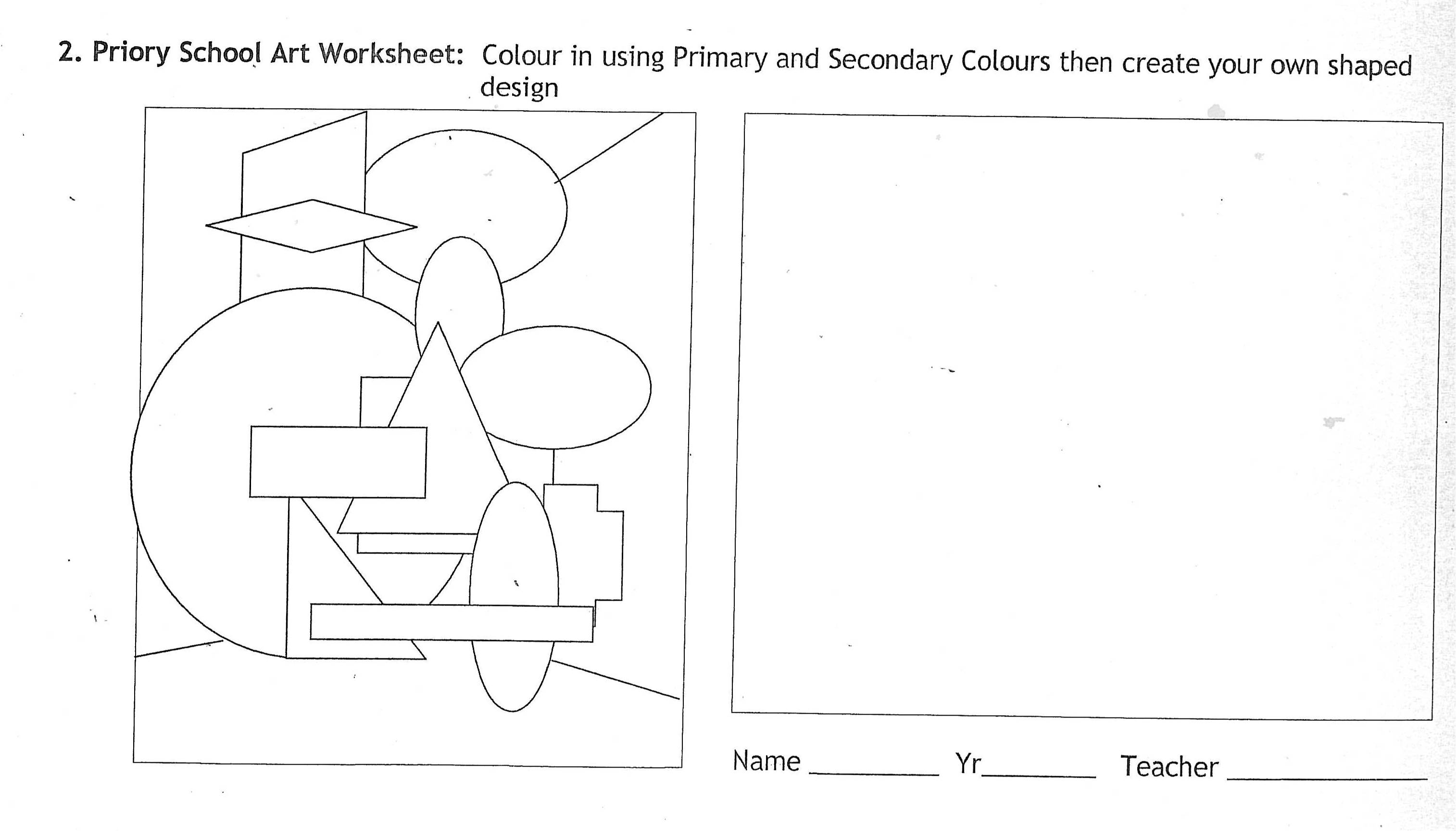 Fun Worksheet For High School Art