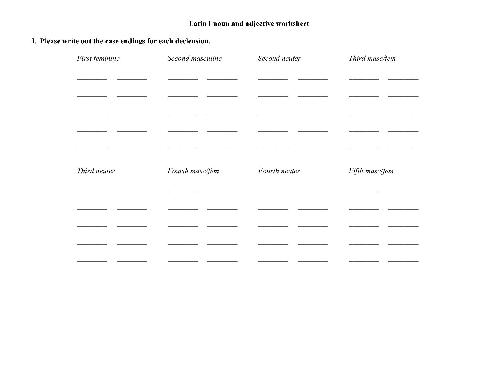 Latin Infinitive Worksheet