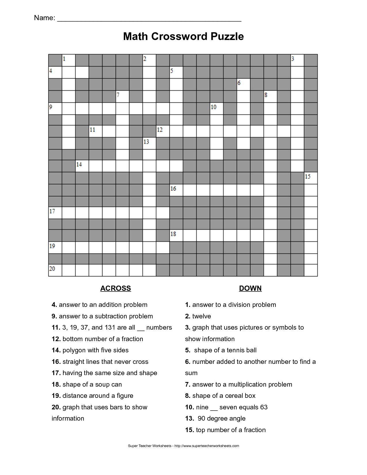 11 Best Images Of Cross Number Puzzles Worksheets