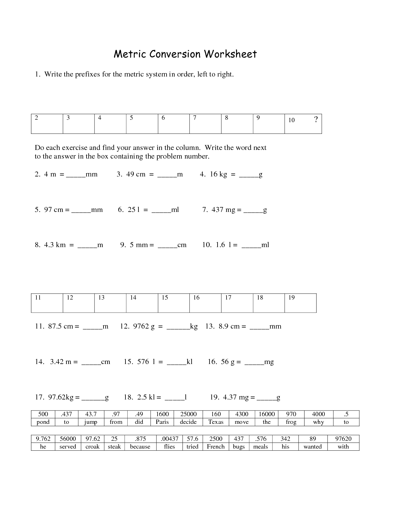 18 Best Images Of Metric System Worksheets With Answers