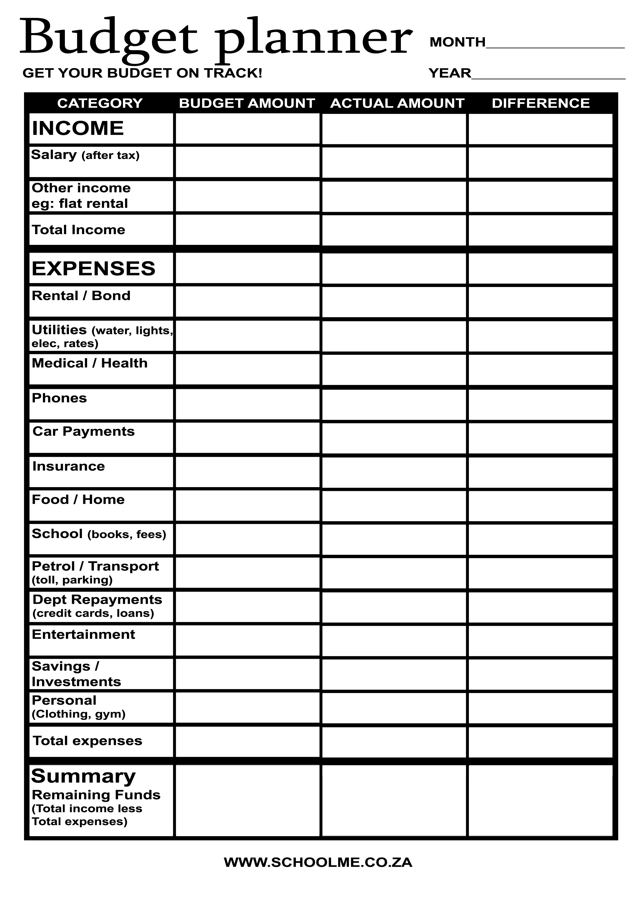 18 Best Images Of Easy Monthly Budget Worksheet
