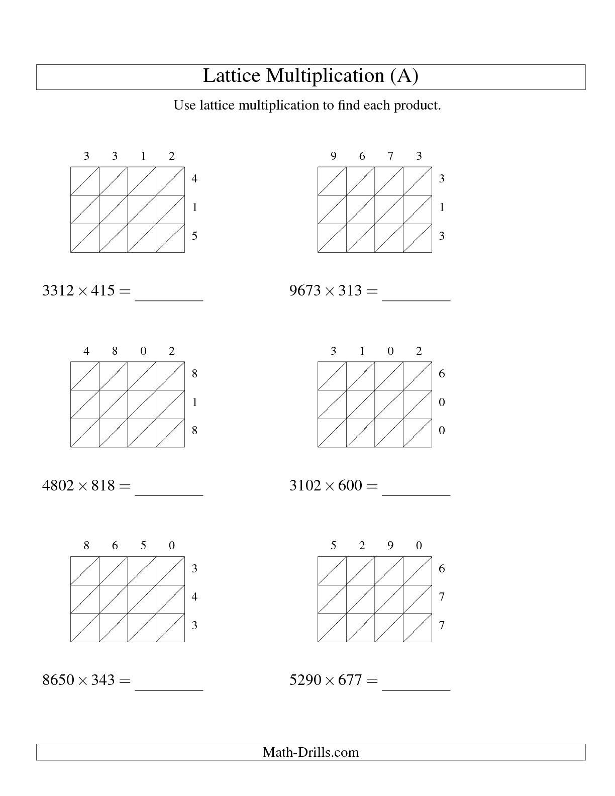 12 Best Images Of Lattice Multiplication Worksheets