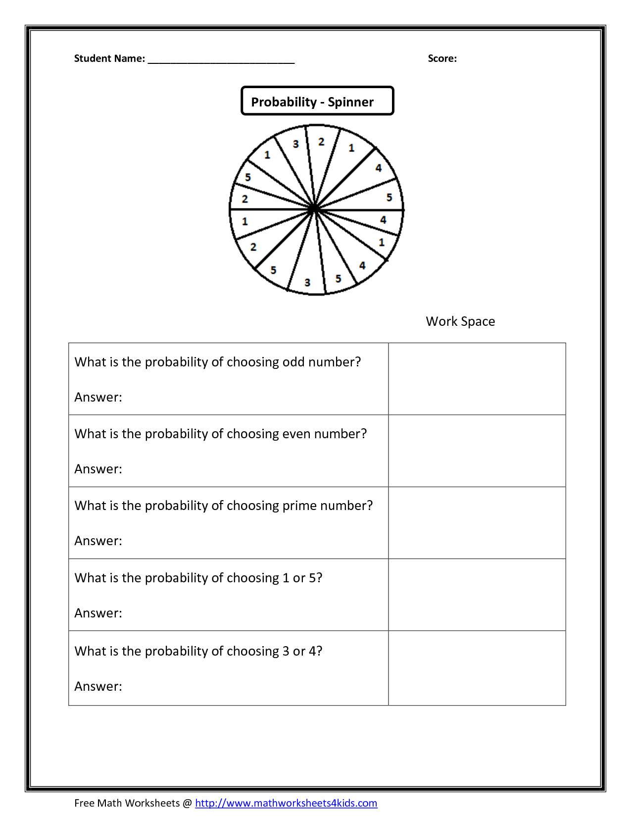 Probability Wheel Worksheet