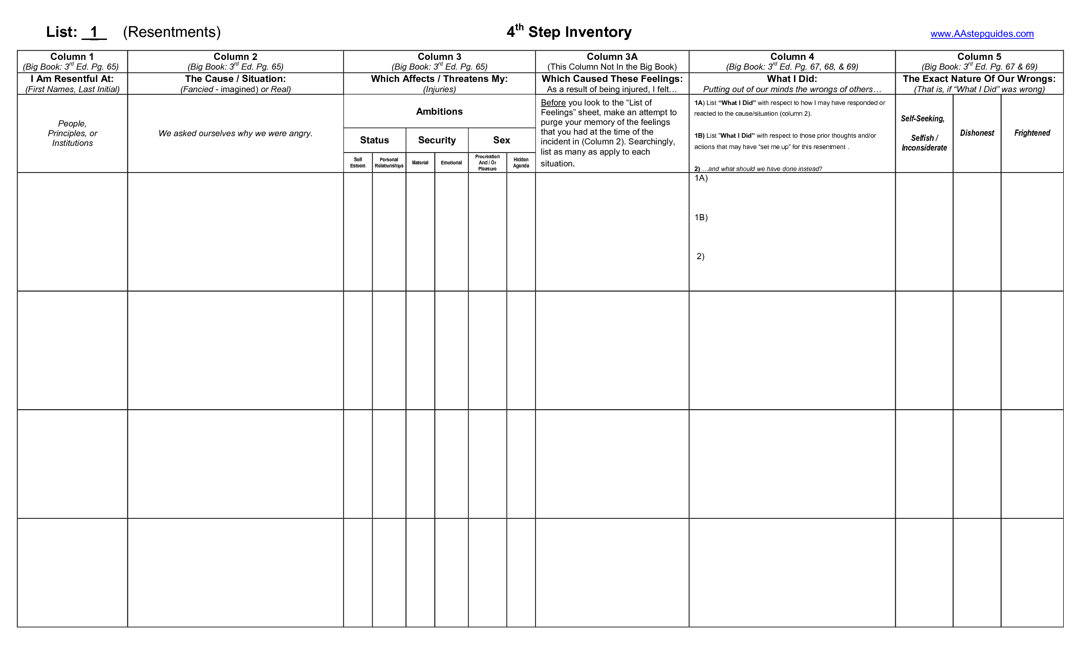 Celebrate Recovery Step 4 Inventory Worksheet