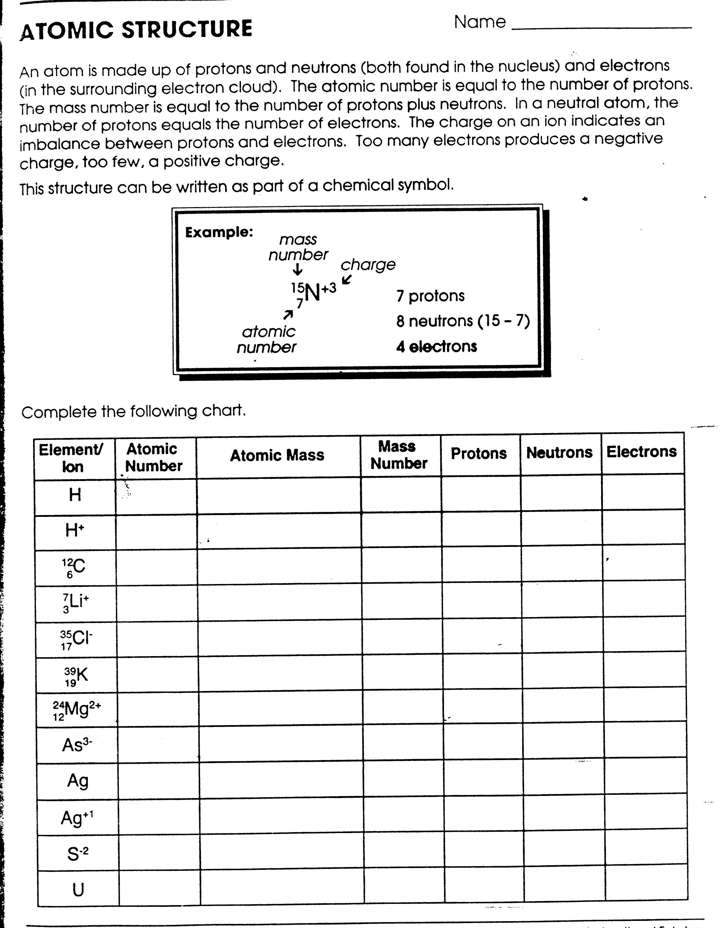 Atomic Structure Worksheet 6th Grade