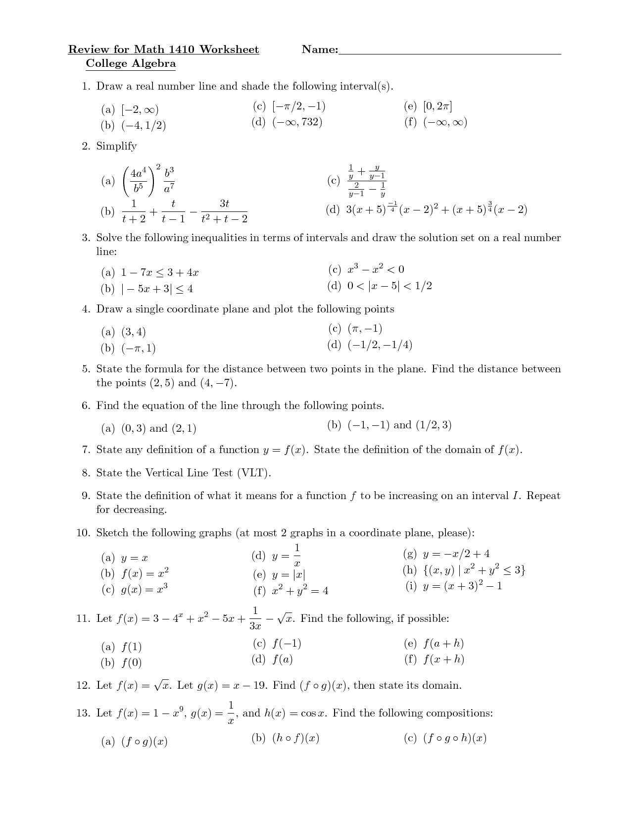 College Algebra Quadratic Equations Worksheet