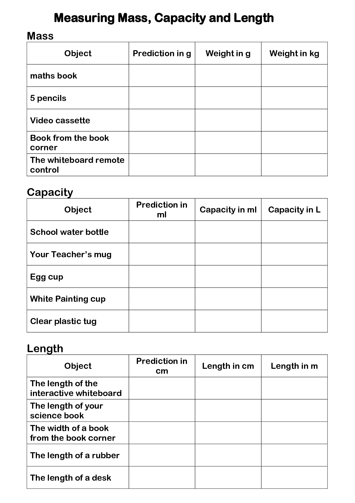 15 Best Images Of Worksheets Measuring Length Of Objects