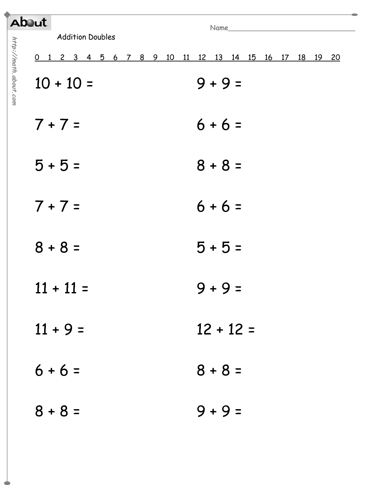 11 Best Images Of Addition Drill Worksheets