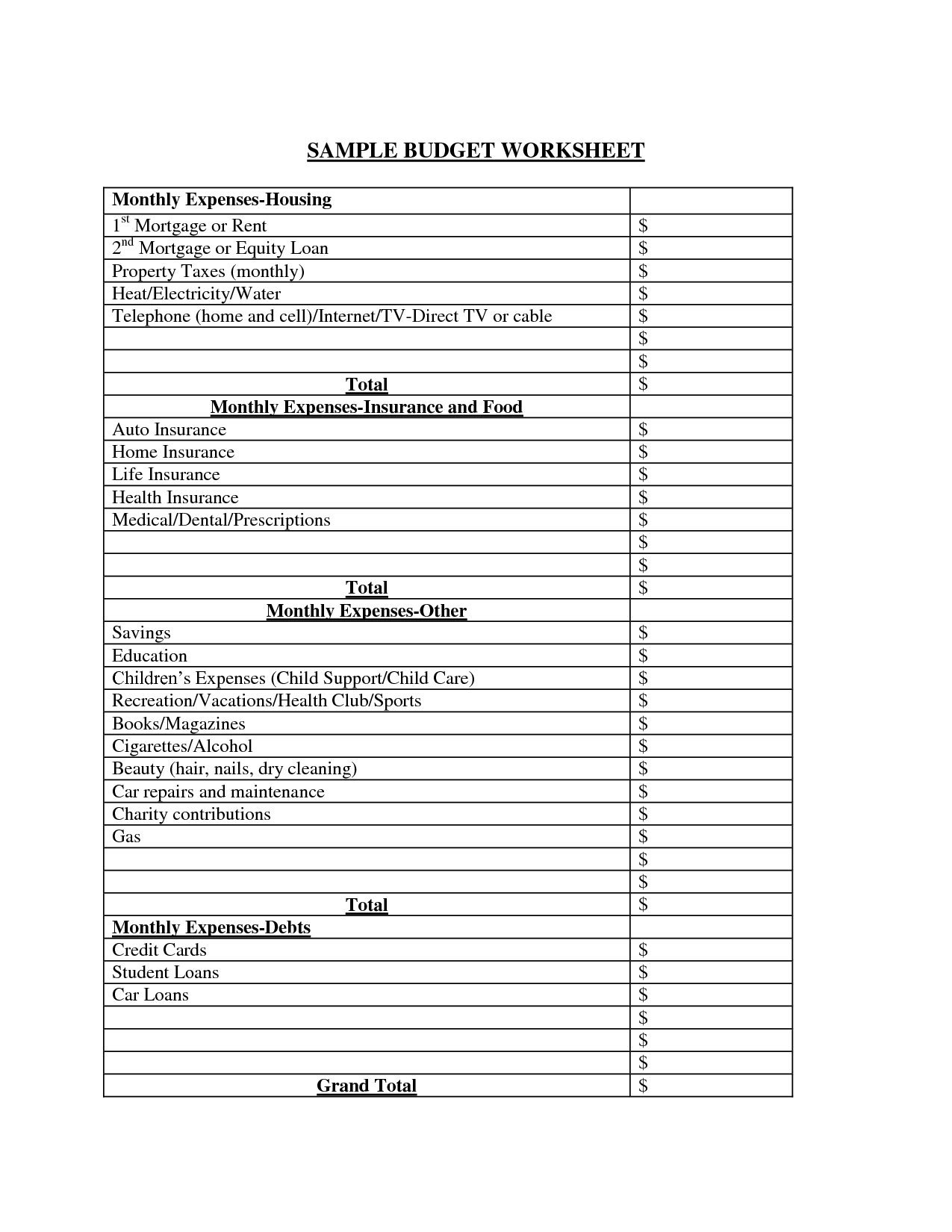 18 Best Images Of Blank Monthly Spending Worksheet