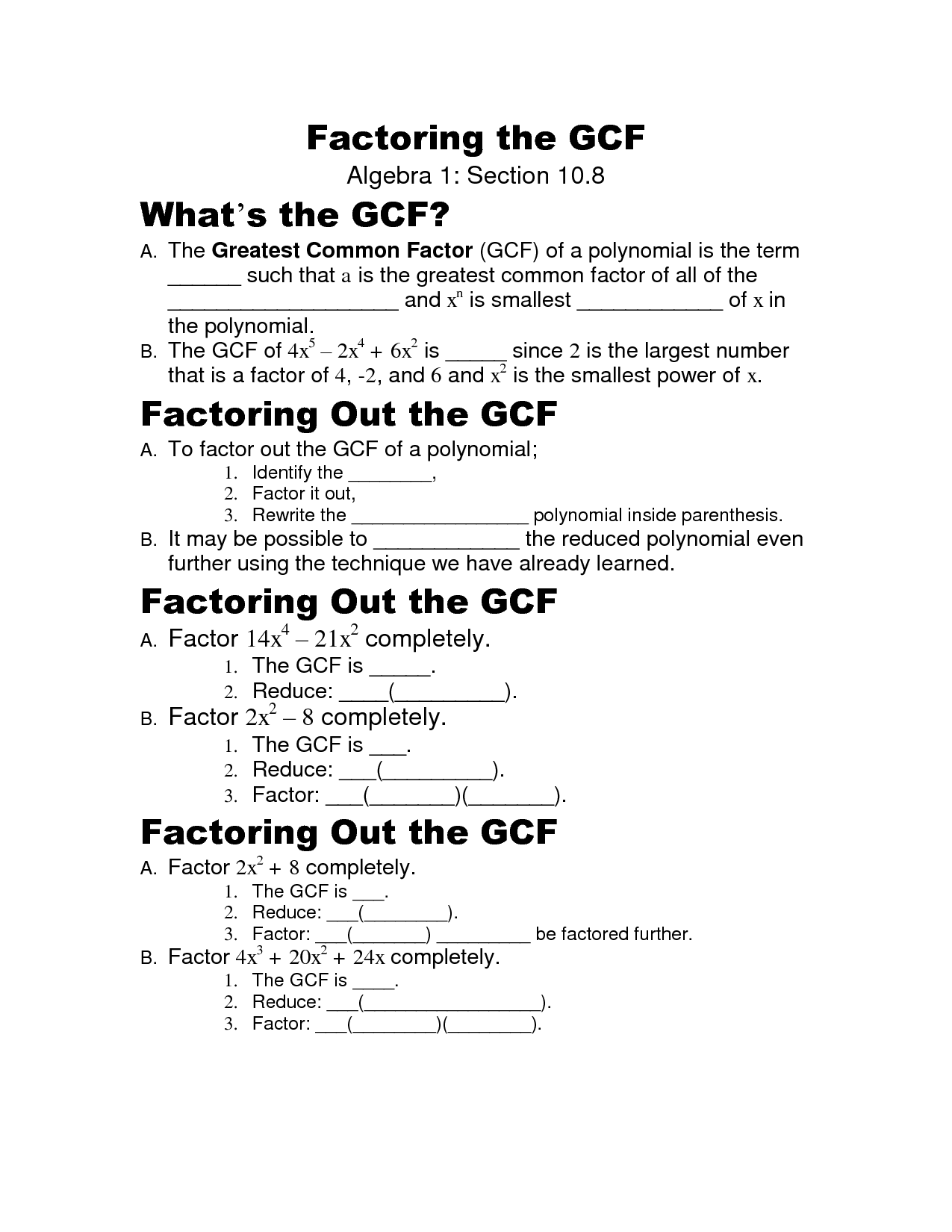 Greatest Common Factor Worksheets With Variables