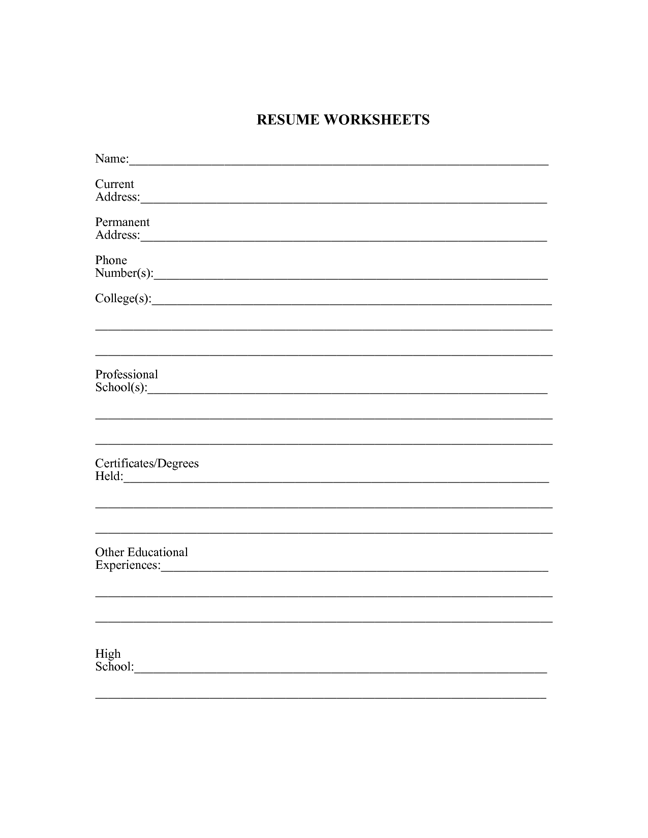 Worksheet Resume Worksheet For High School Students