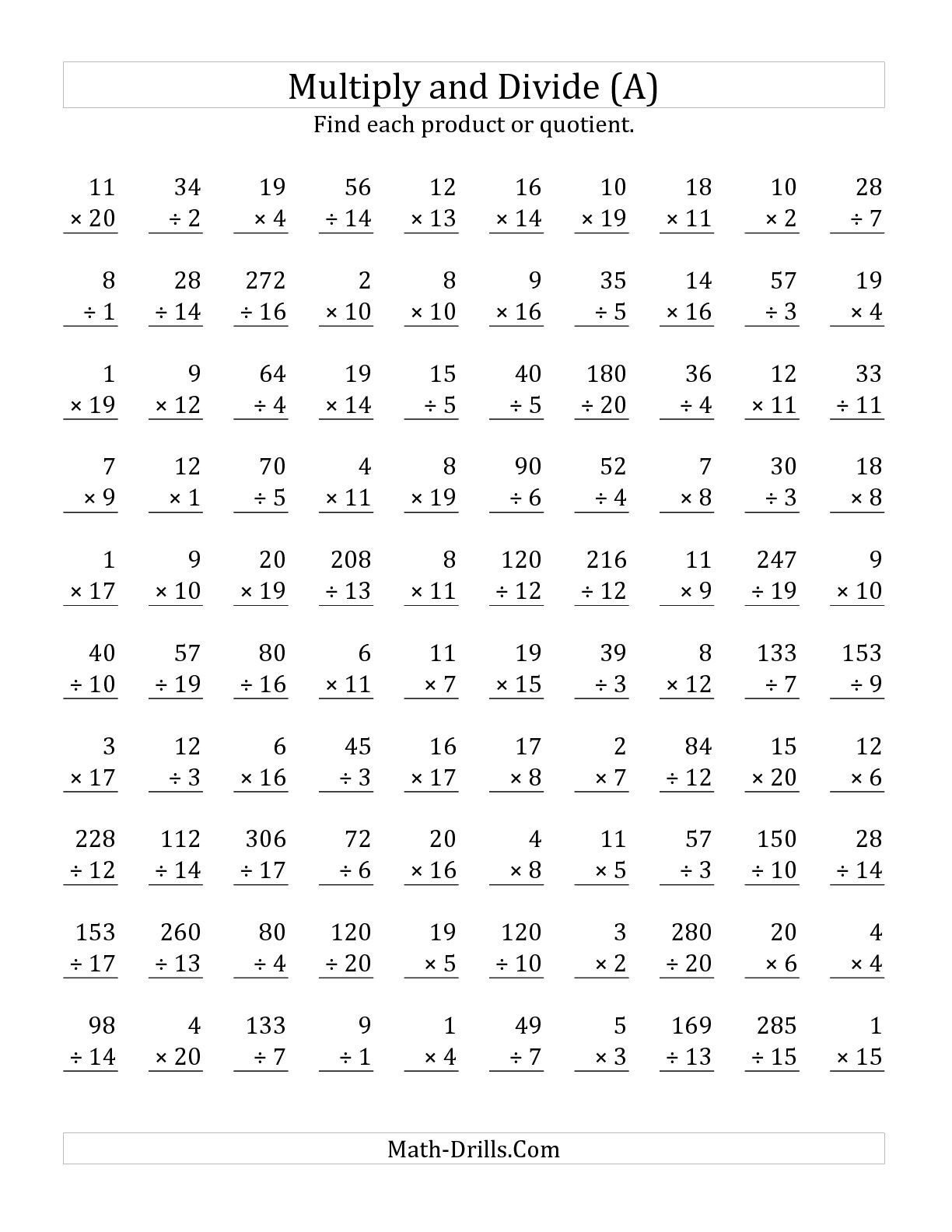 13 Best Images Of Math Worksheet 100 Multiplication Facts