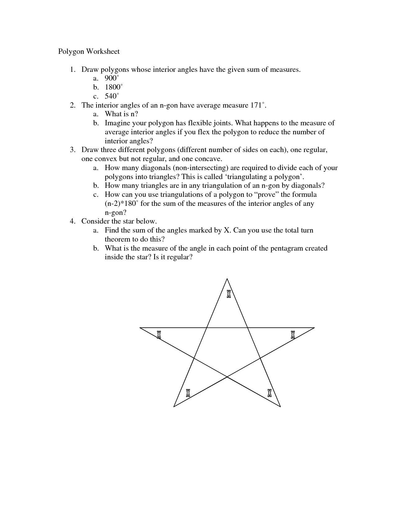 13 Best Images Of Angles Of Polygons Worksheet