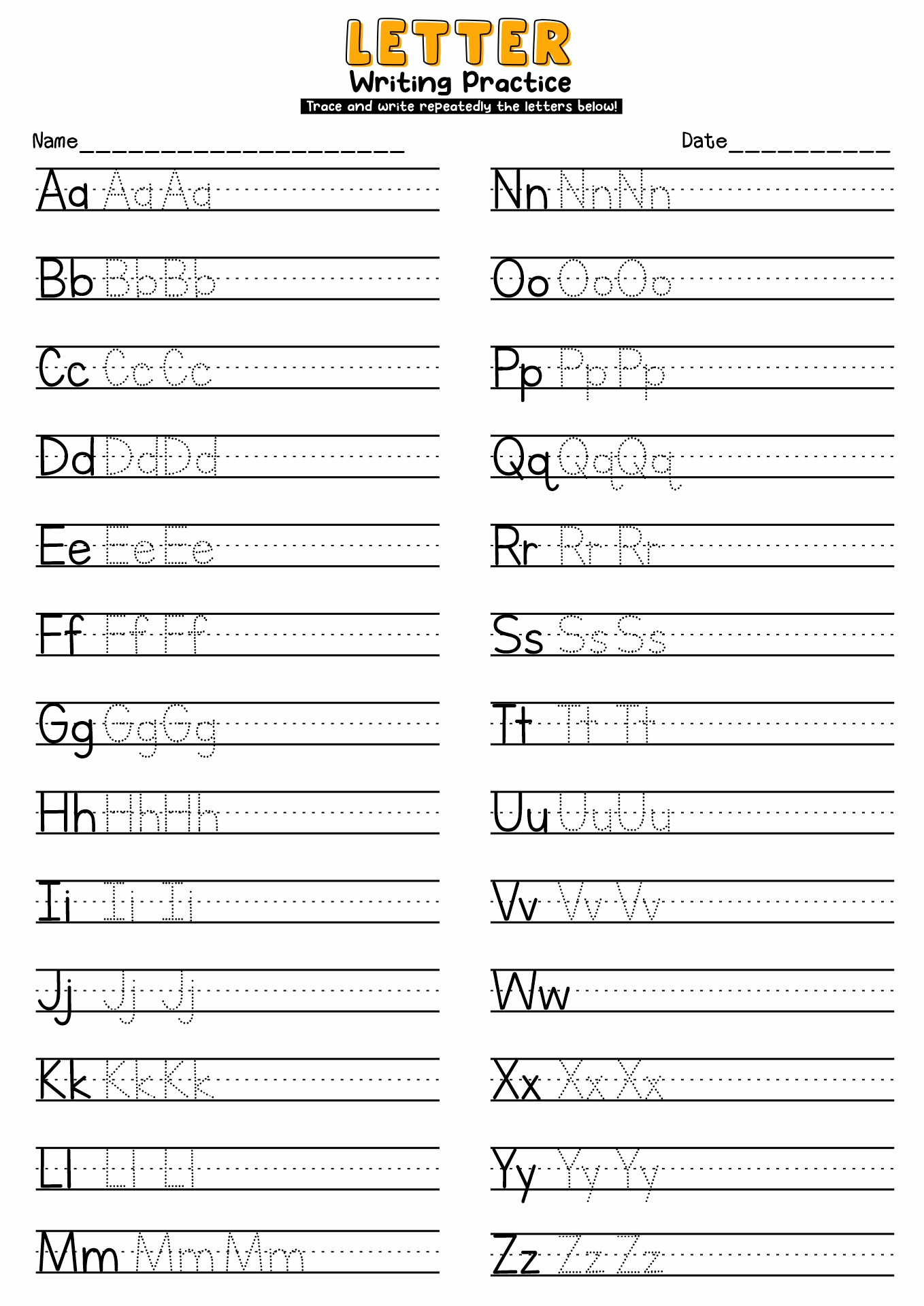12 Best Images Of Practice Writing Alphabet Letter Worksheets