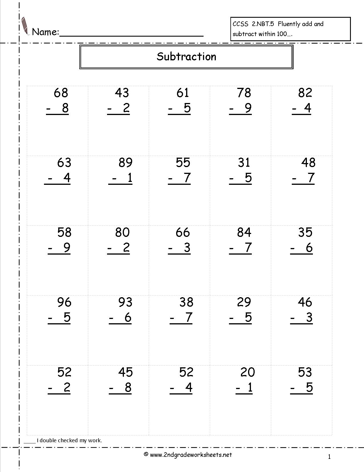 Search Results For Math Adding And Subtracting Worksheet For Grade Three Calendar