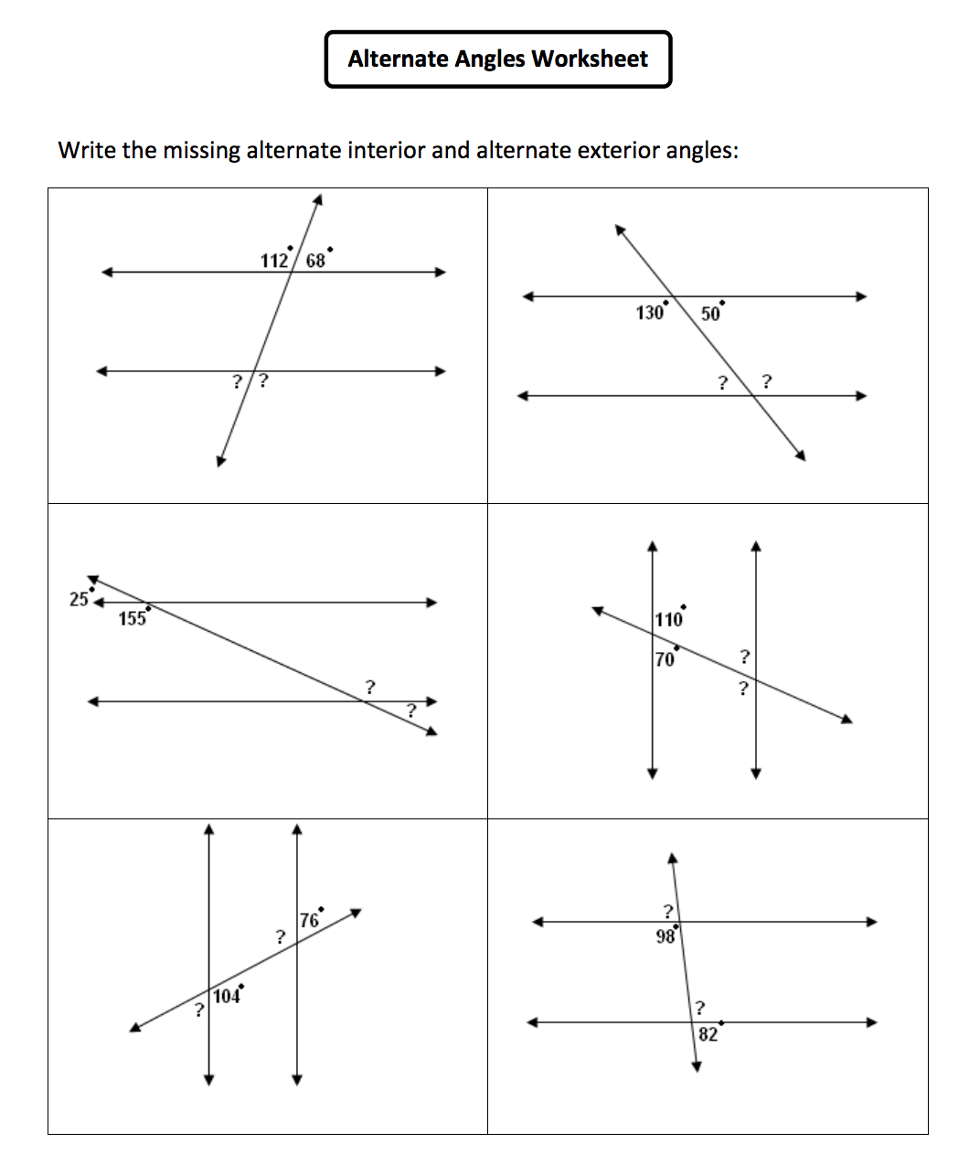 12 Best Images Of Identifying Angles Worksheets
