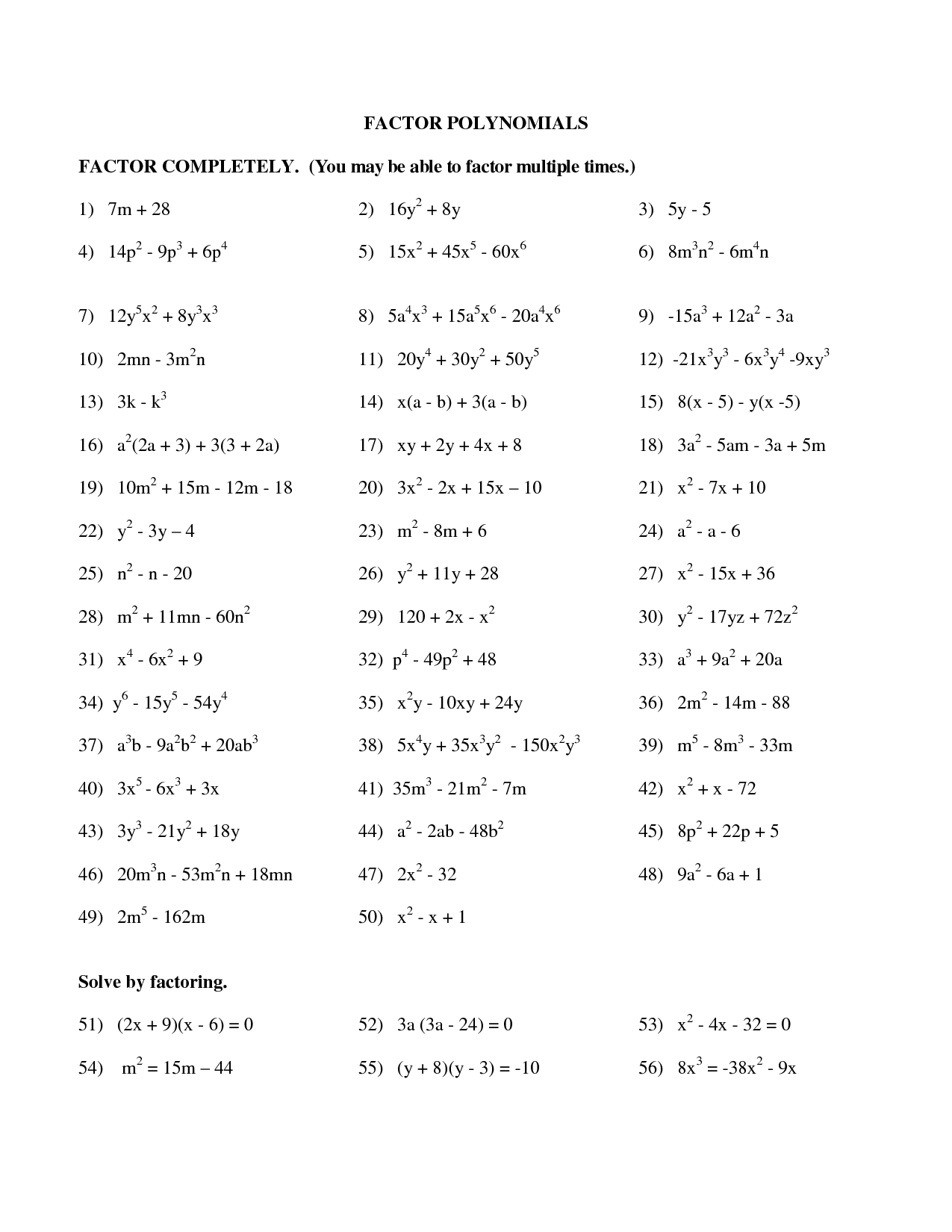 Factoring Trinomials Of The Form X2 Bx C Worksheet Answers