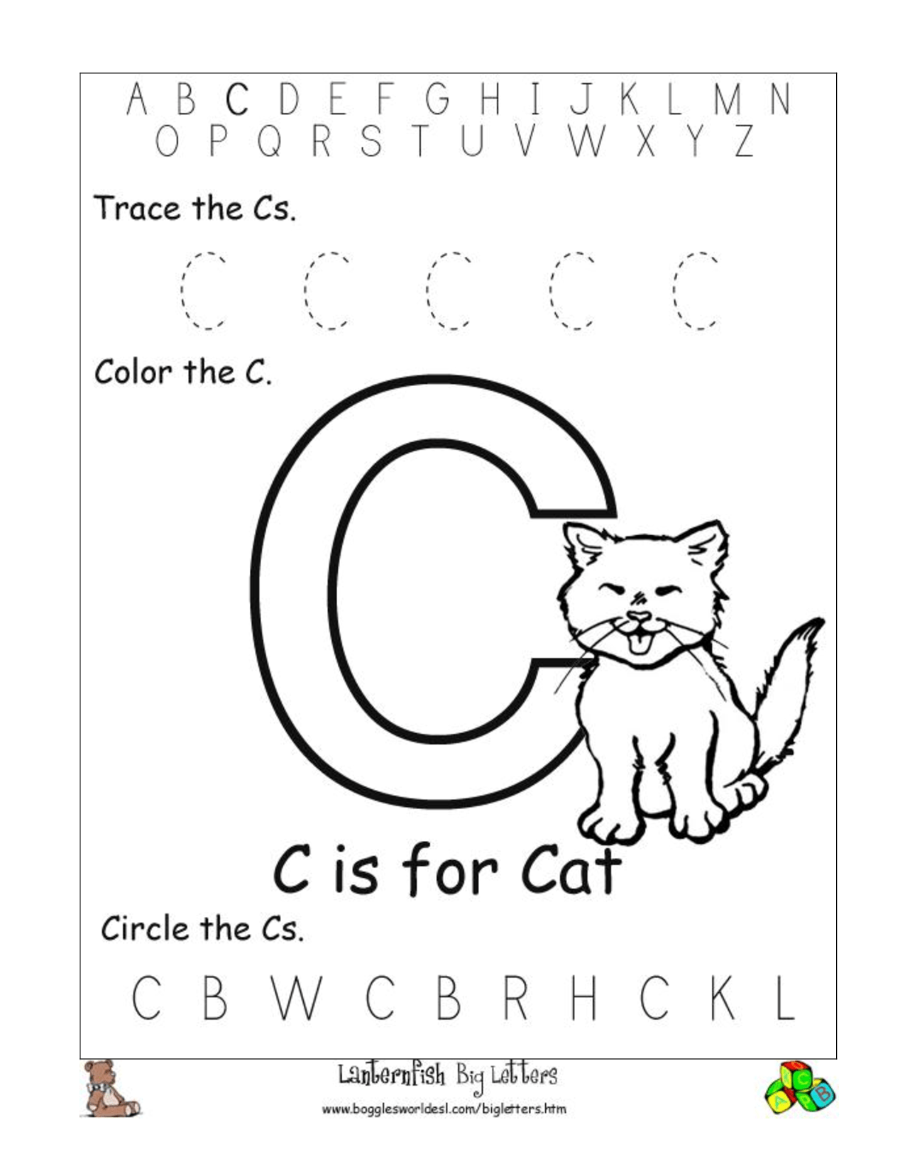 10 Best Images Of Letter C Worksheets