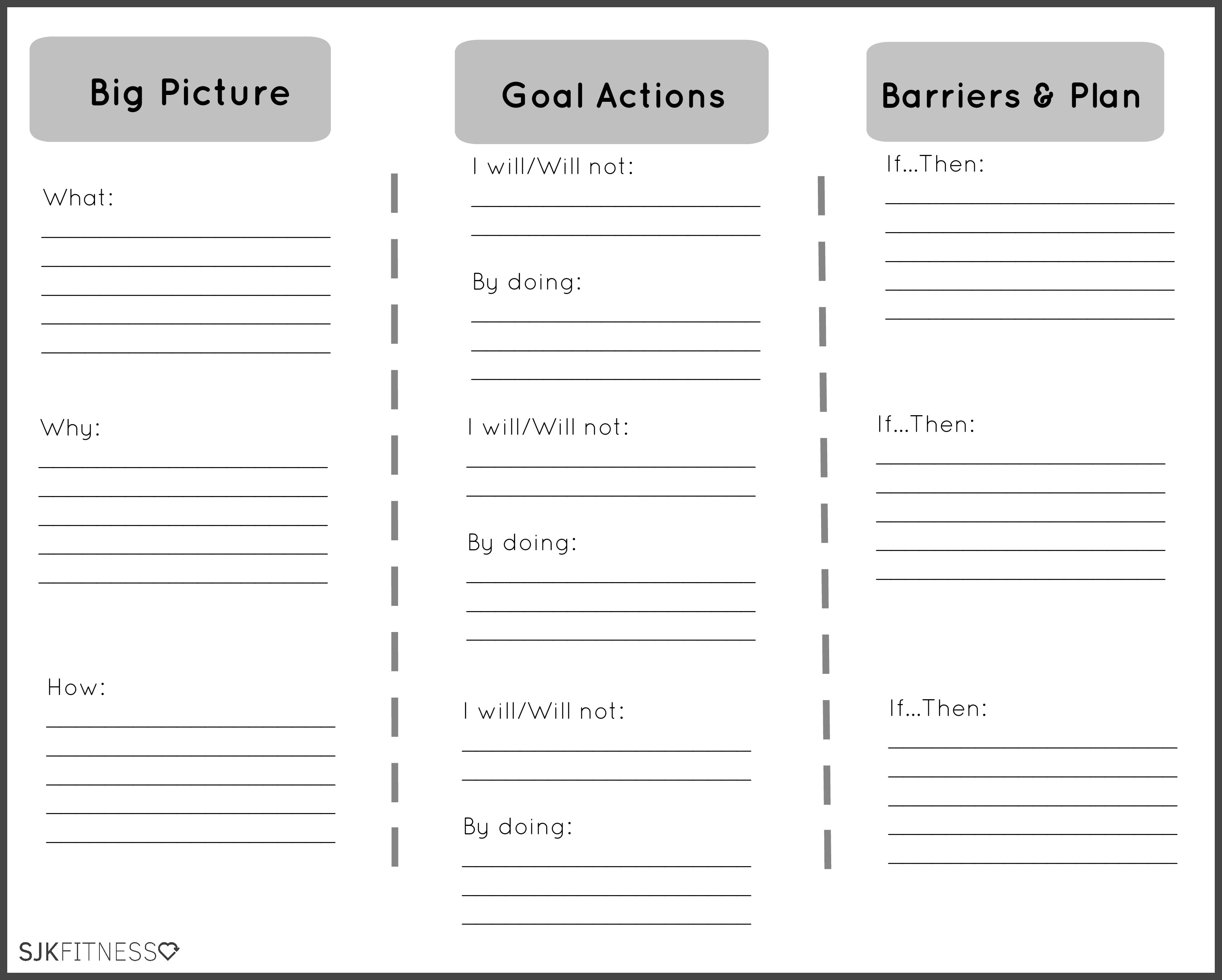Healthy Living Goals Worksheet