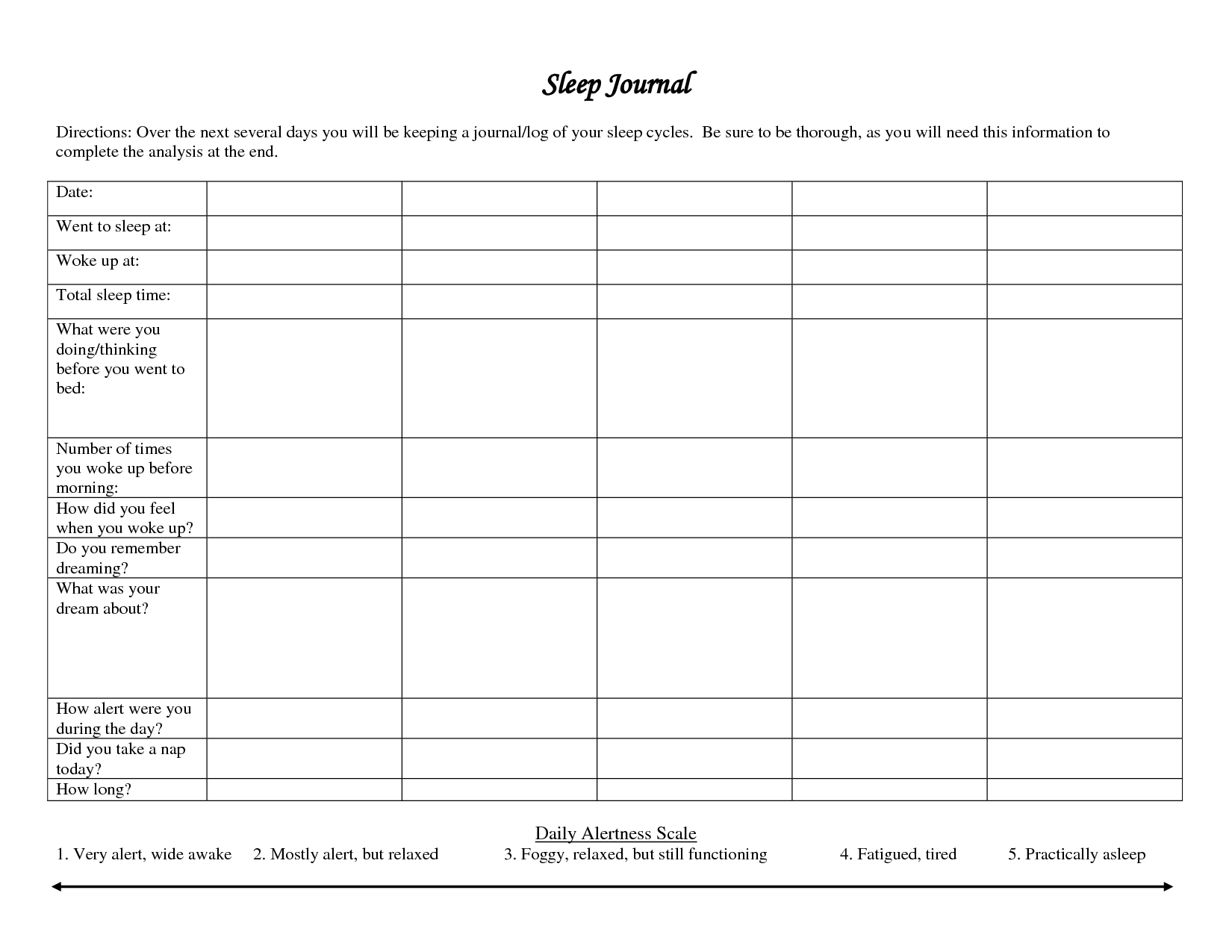 Daily Pain Diary Worksheet