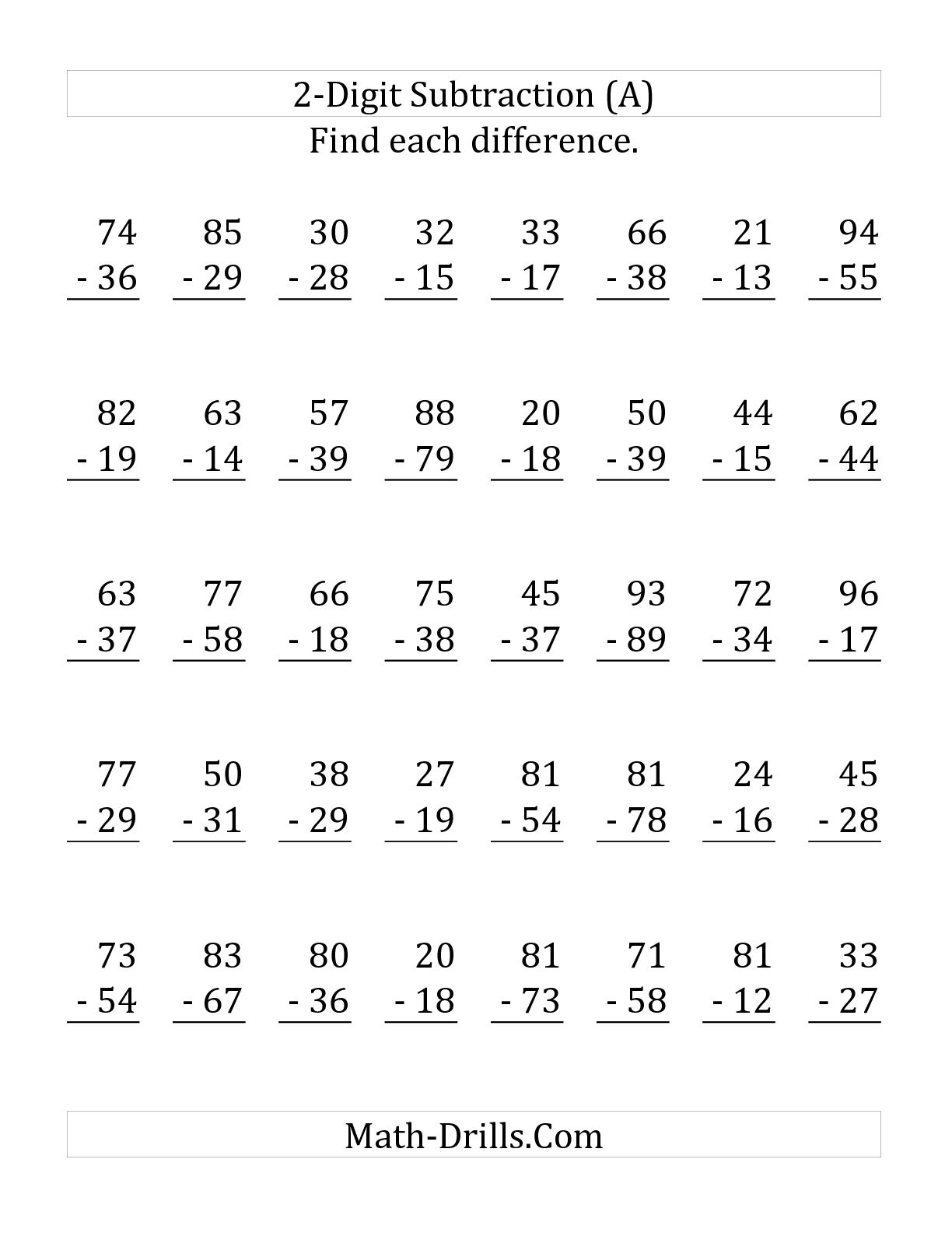Subtraction Worksheet 3rd Grade