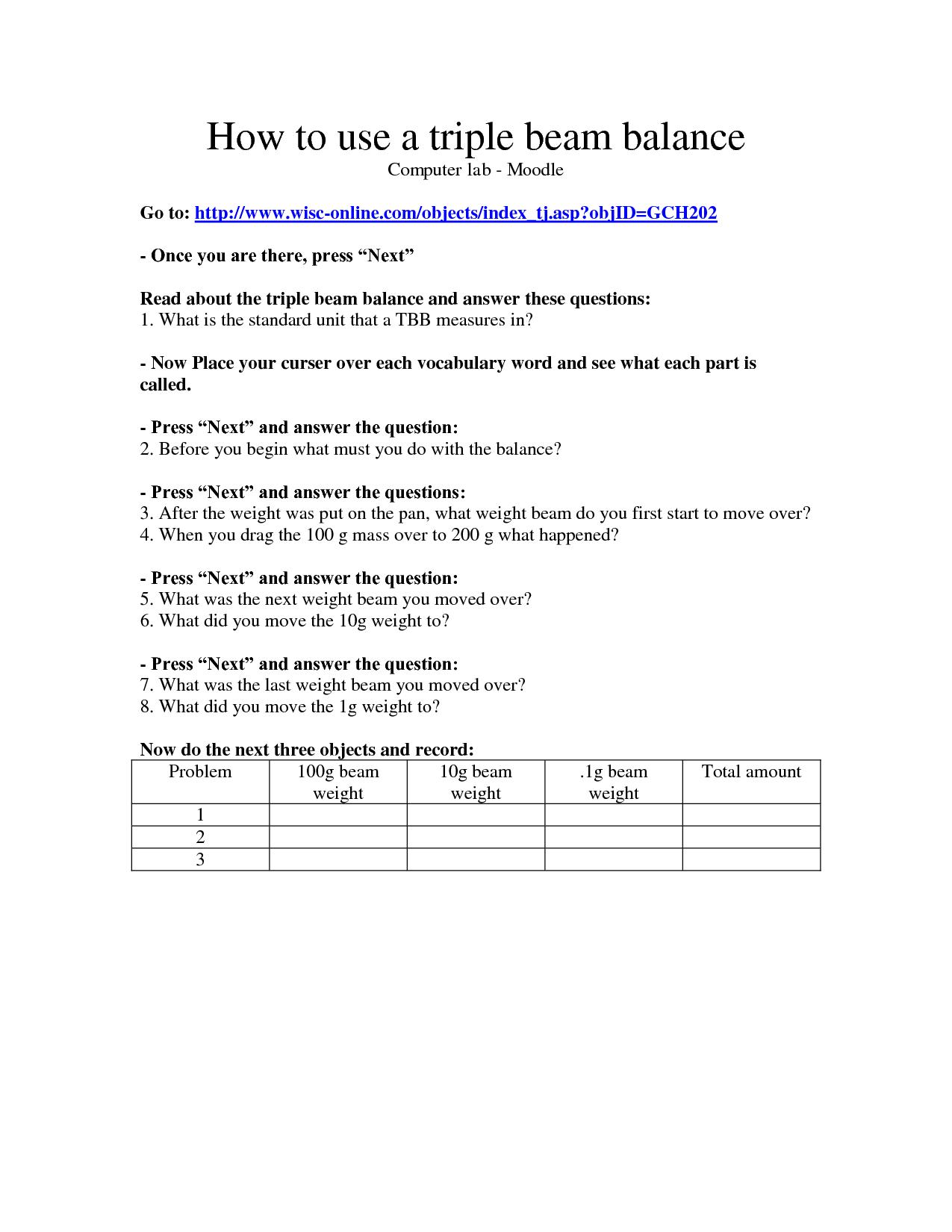 Reading Triple Beam Balance Scale Worksheet