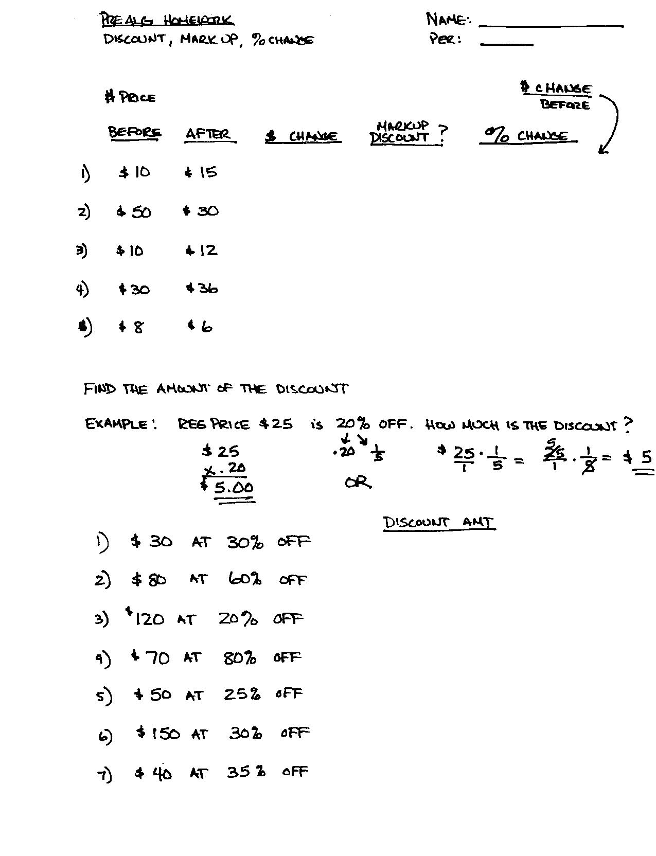 Percentage Worksheets Grade 7