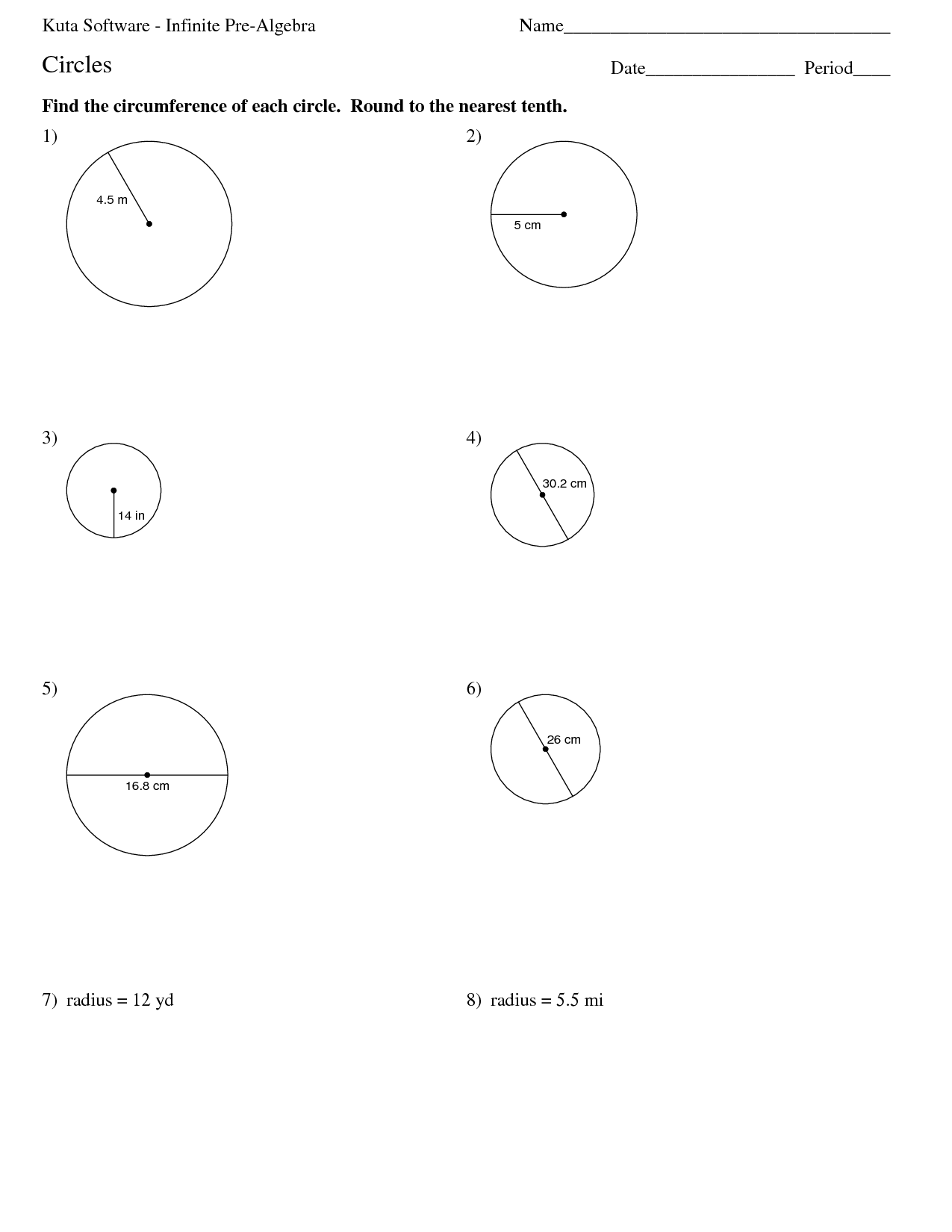Worksheet On Area Circle S