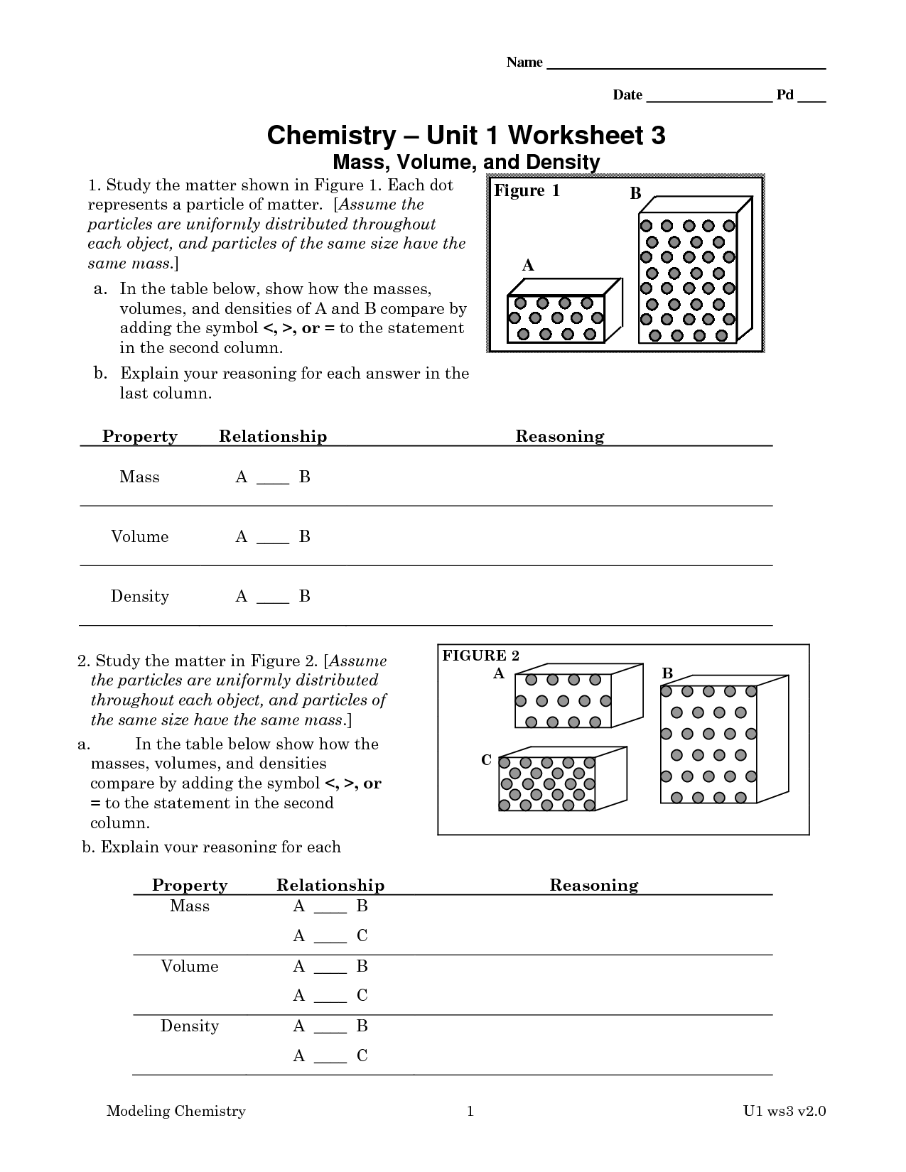 Worksheet Answer Key Chemistry 1