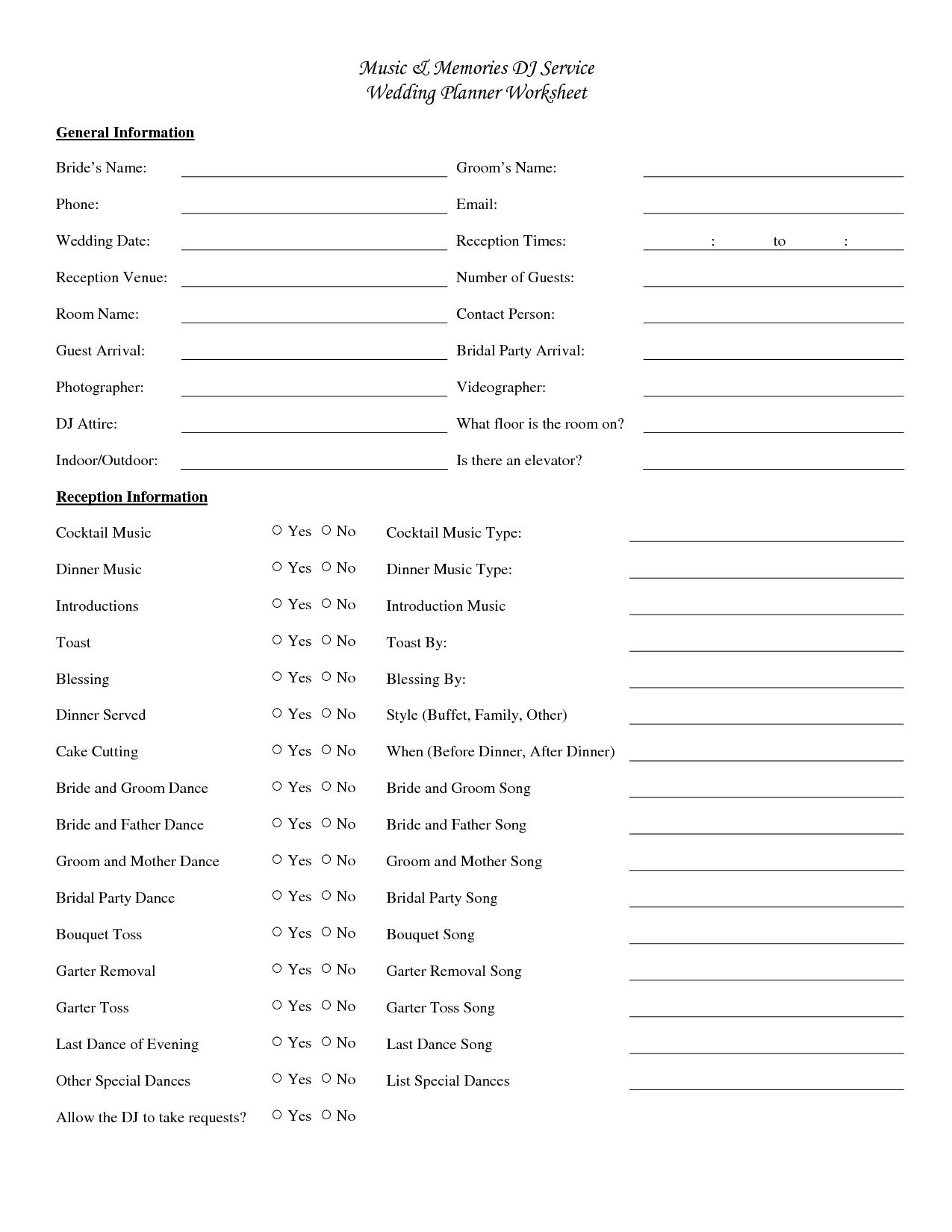 20 Best Images Of Simple Wedding Planning Worksheets