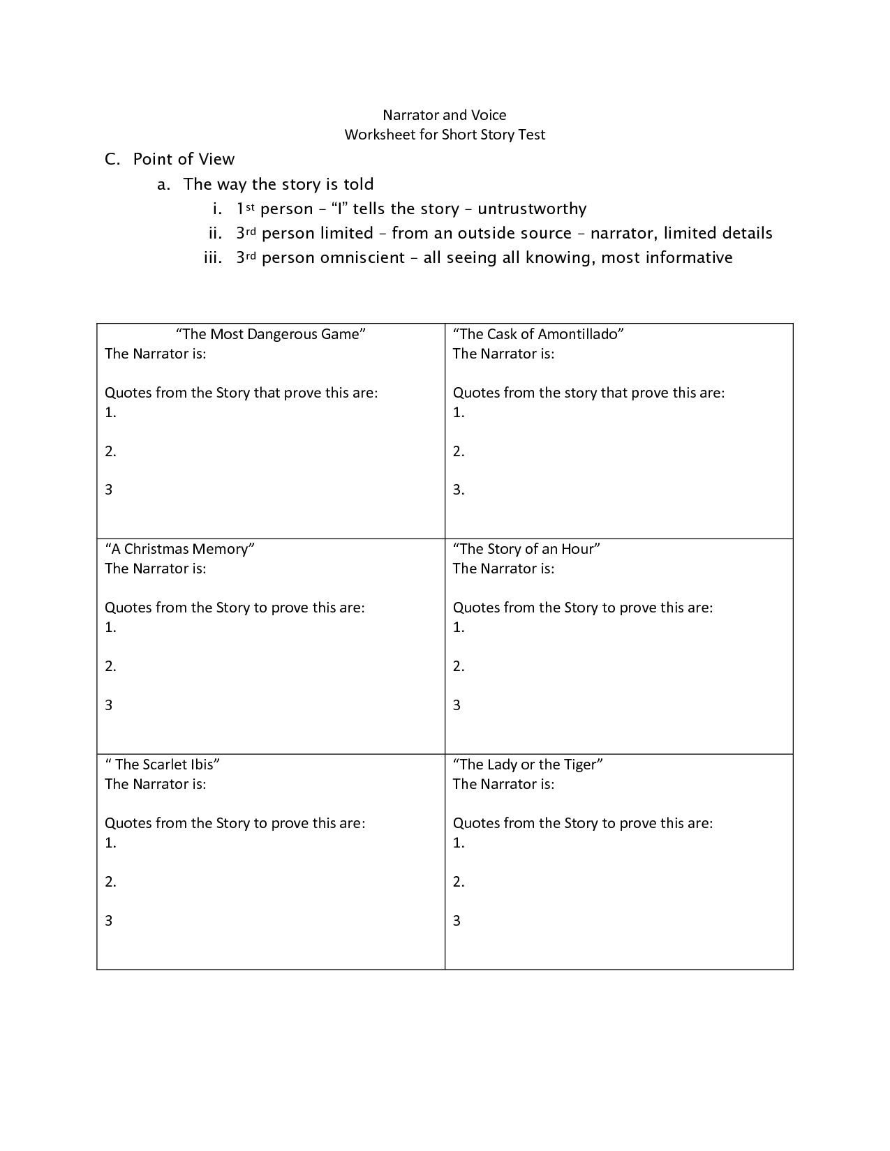 16 Best Images Of Point Of View 1st 2nd 3rd Person Worksheet