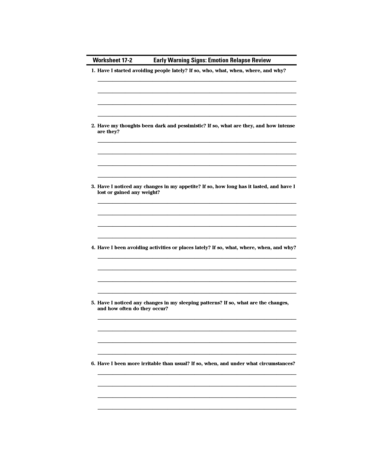 Relapse Warning Signs Worksheet
