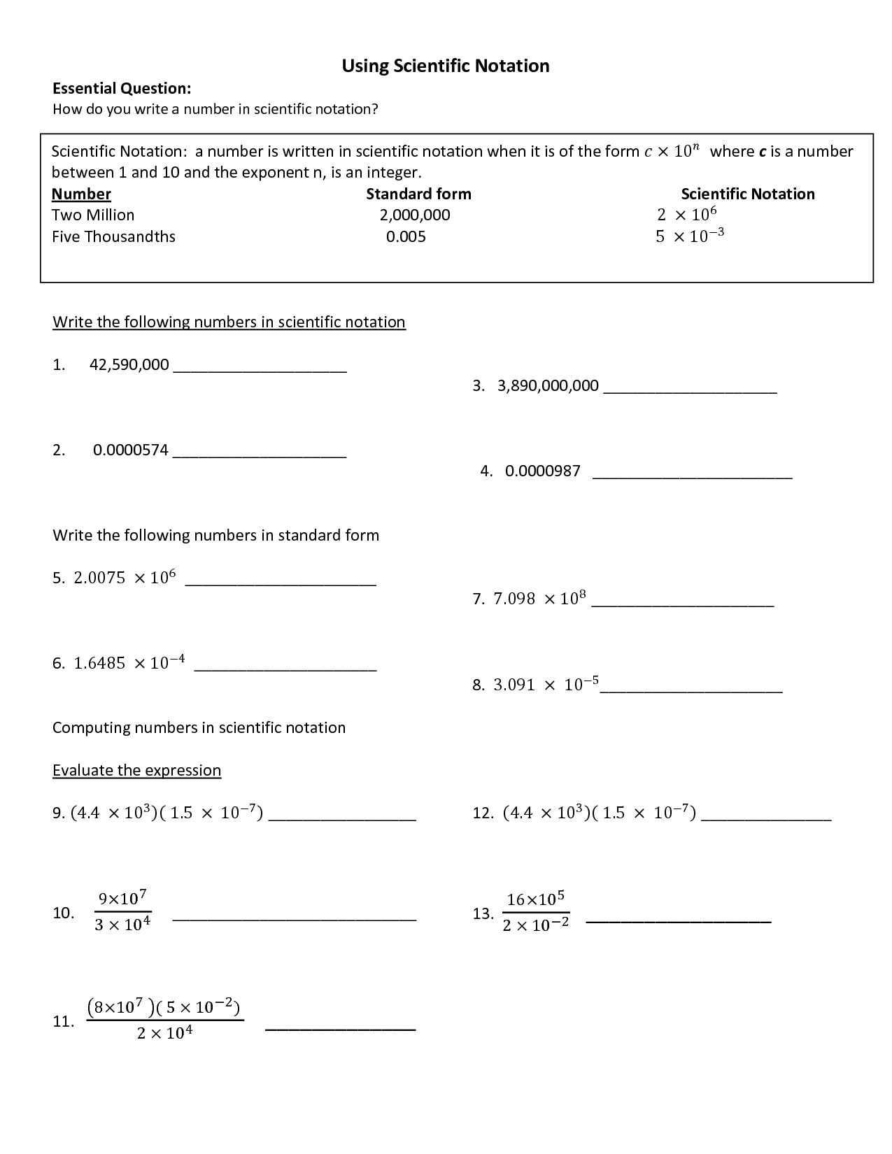 Worksheet Scientific Notation Part 2 Answers