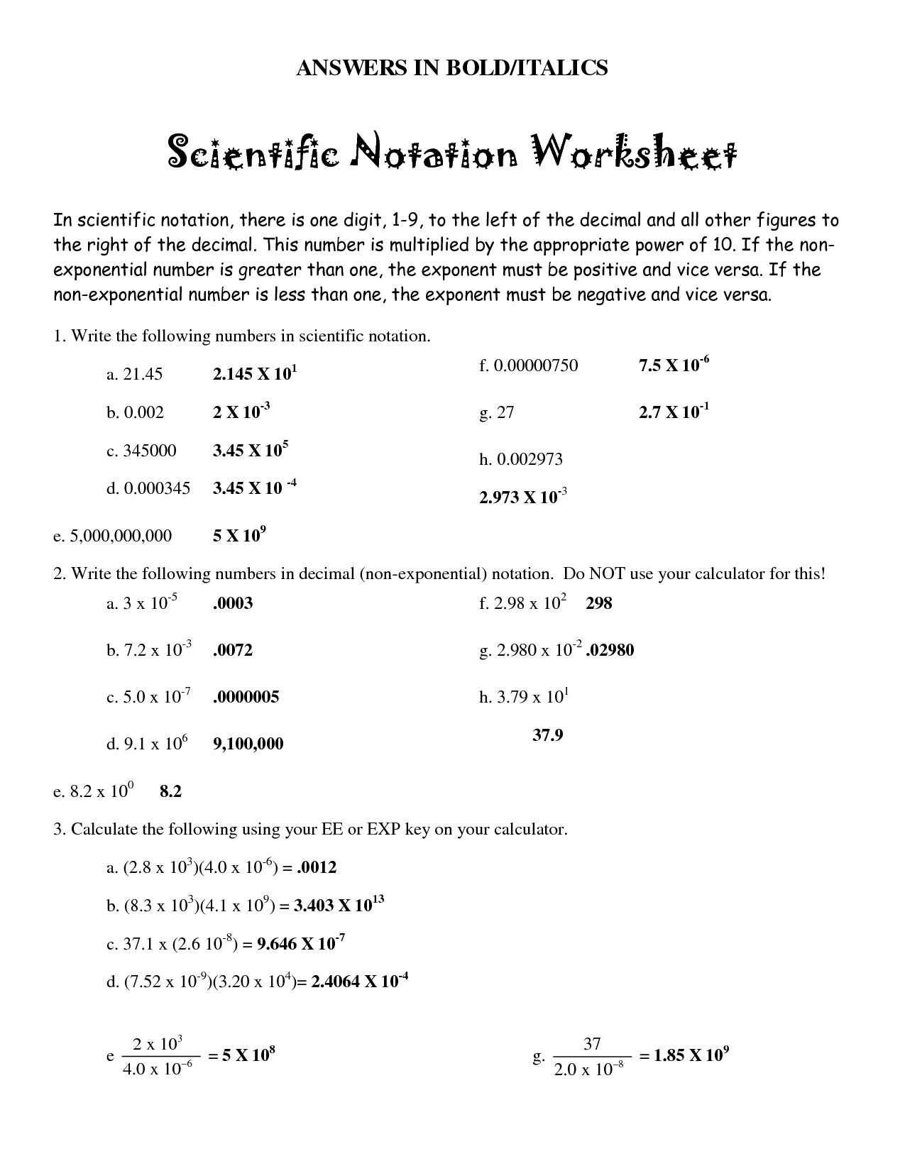 Grade 8 Math Scientific Notation Worksheet