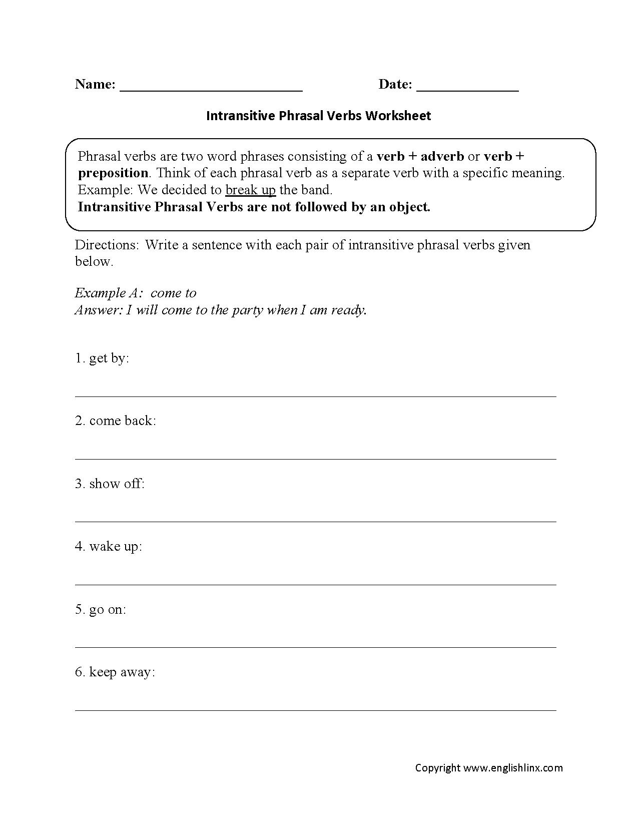 Intransitive Verbs Worksheet