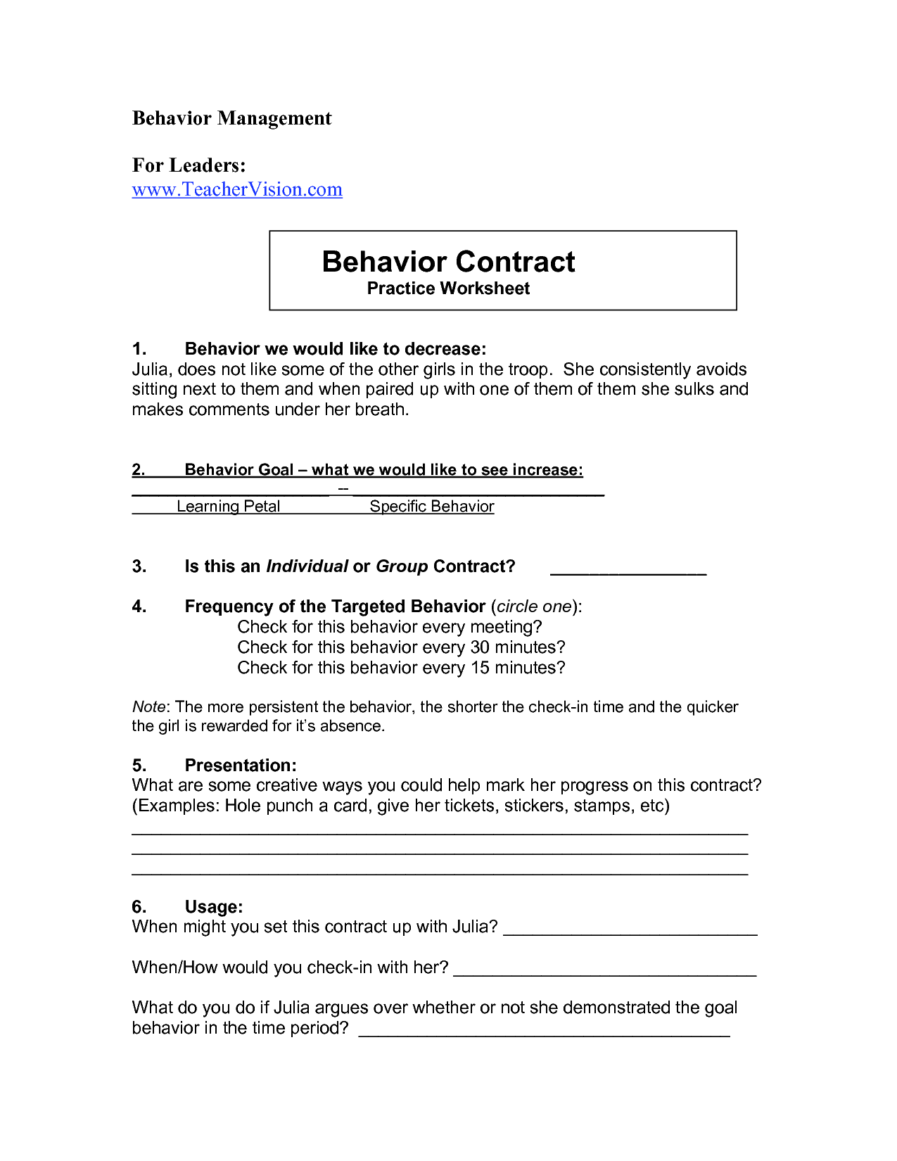 5 Best Images Of Behavior Consequences Worksheet For