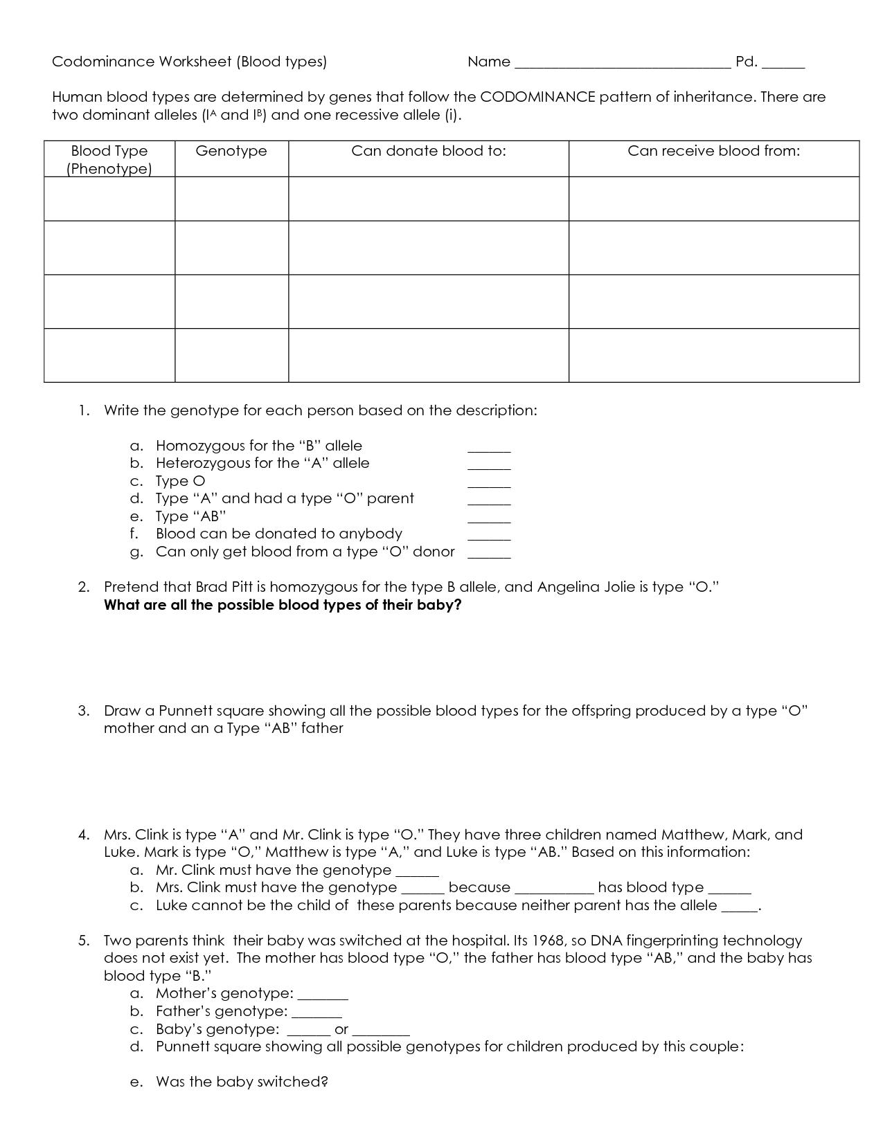 Biochemistry Worksheet With Answers