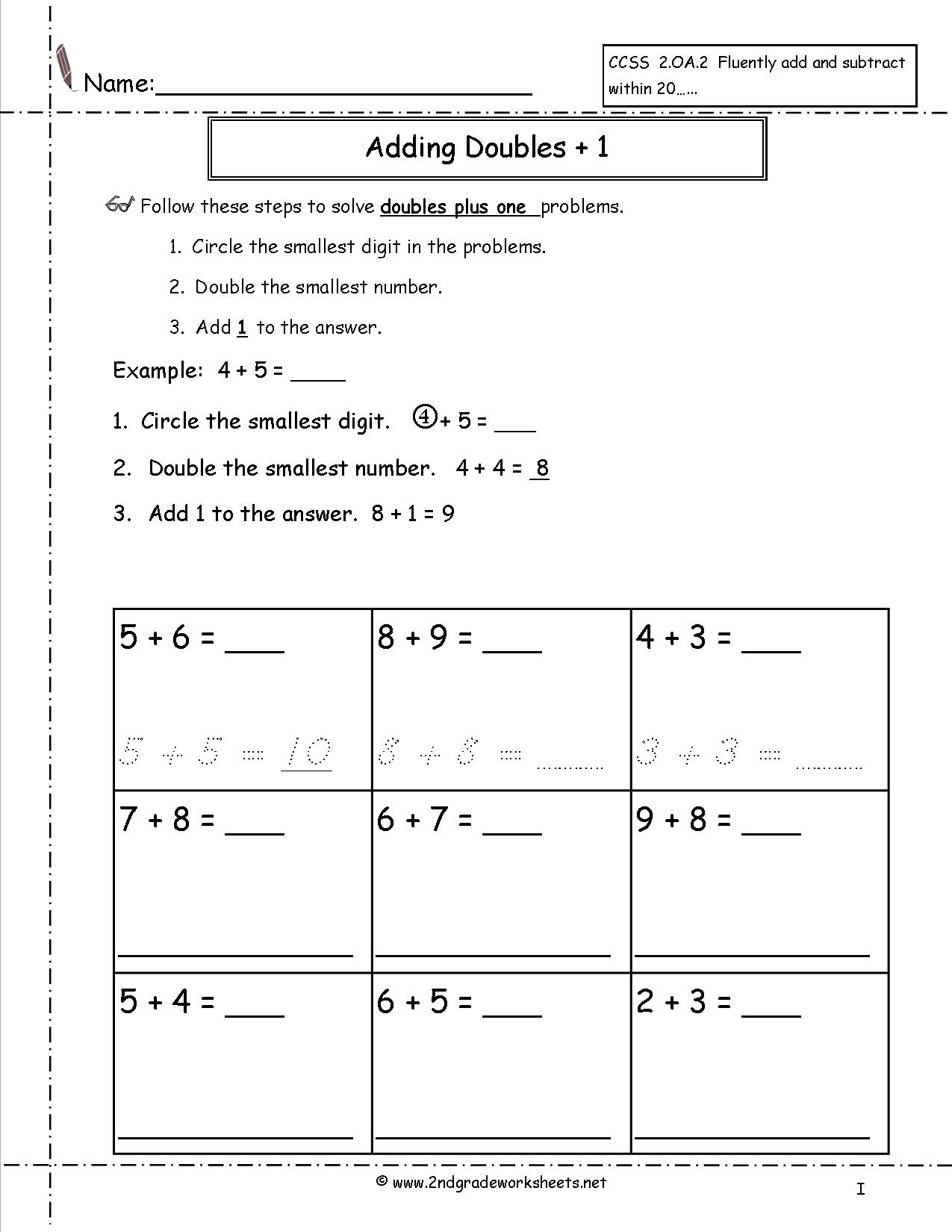 12 Best Images Of Doubles Plus One Worksheet