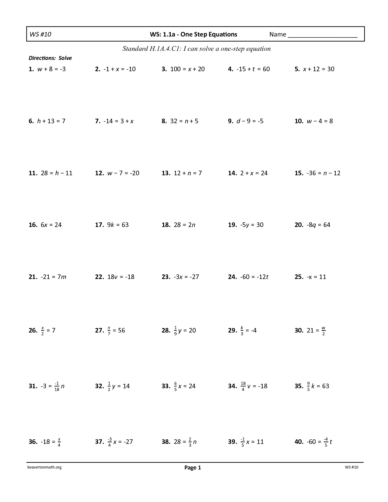 Two Step Equations With Rational Coefficients Worksheet