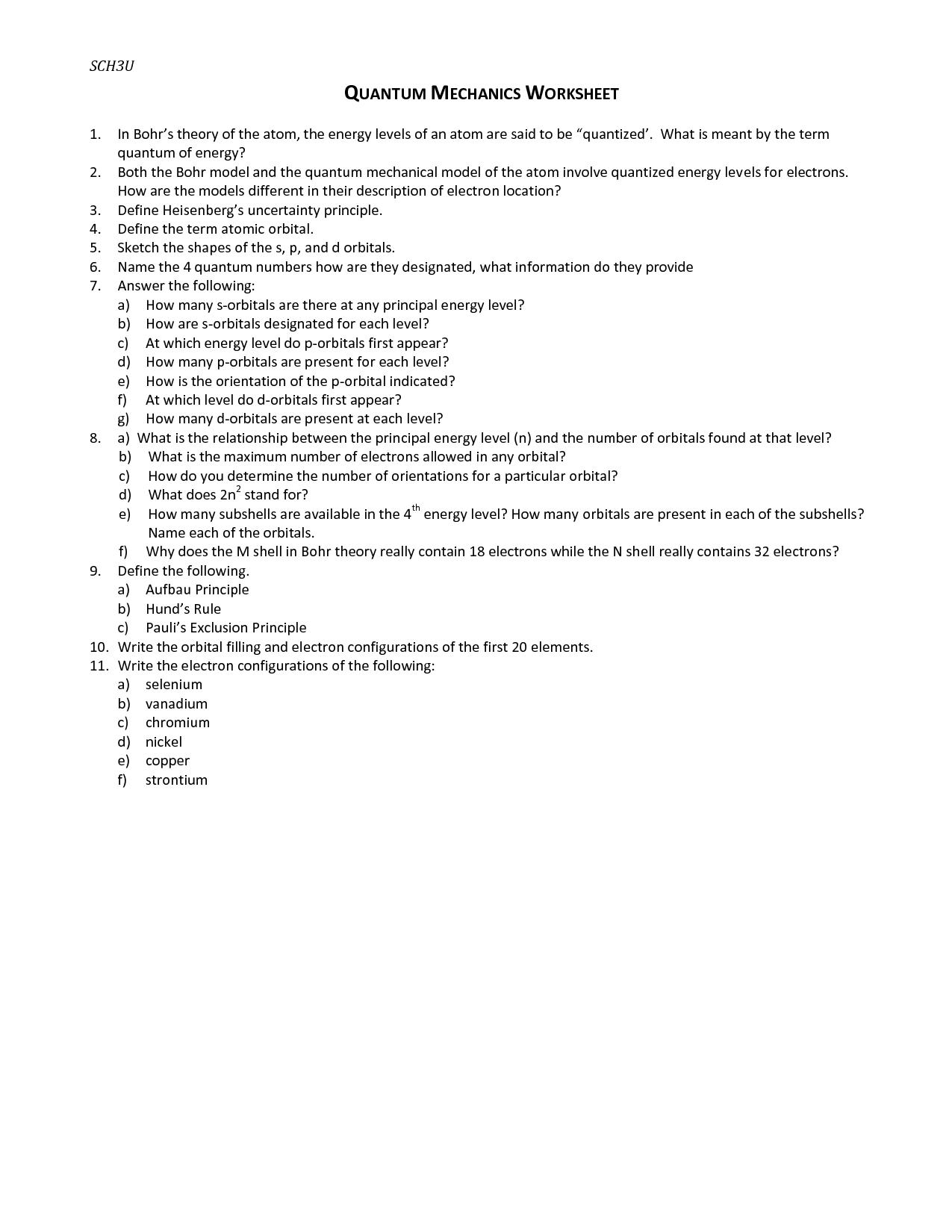 Quantum Mechanics Worksheet Beginner