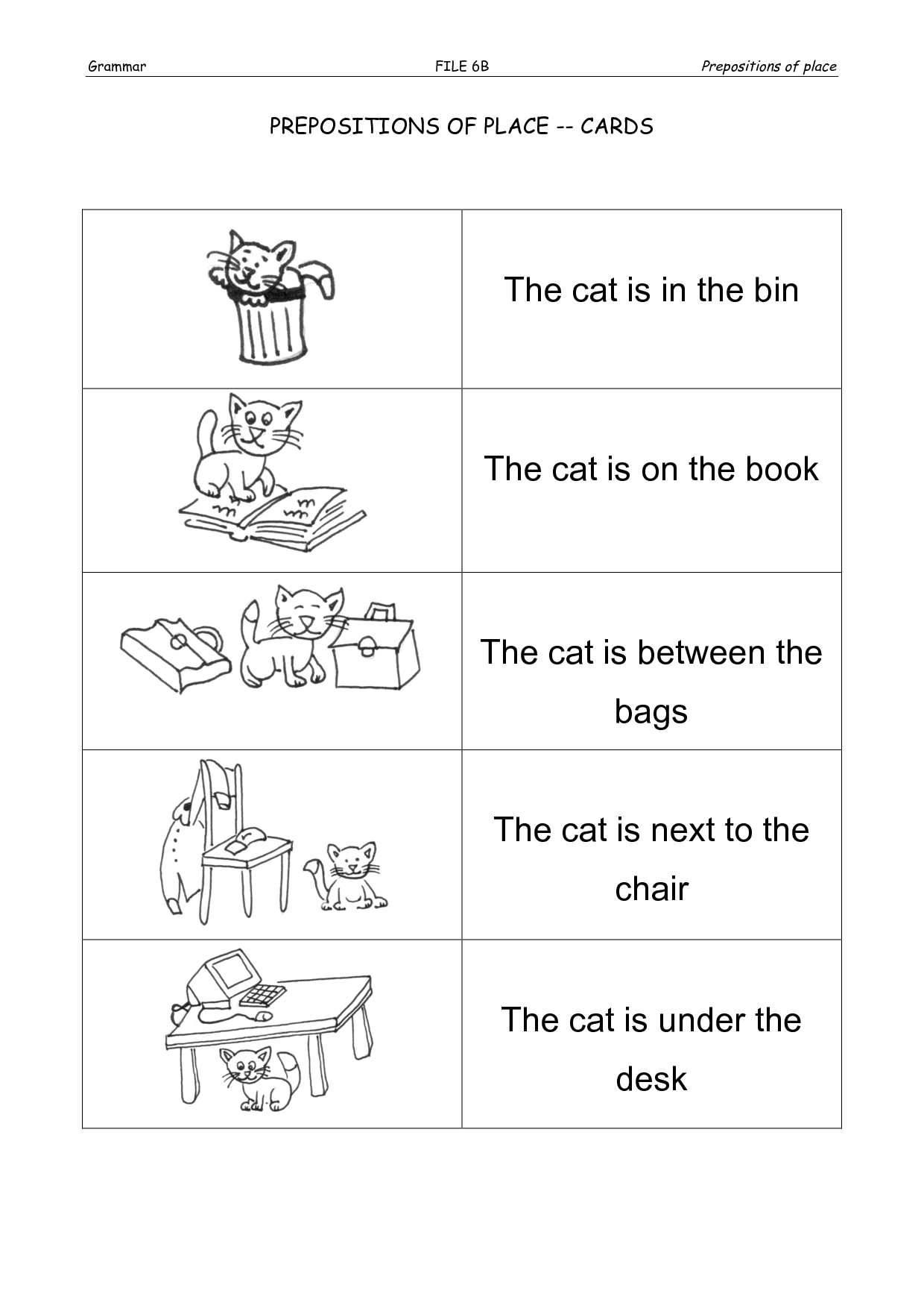 Preposition Of Place Worksheet Grade 7