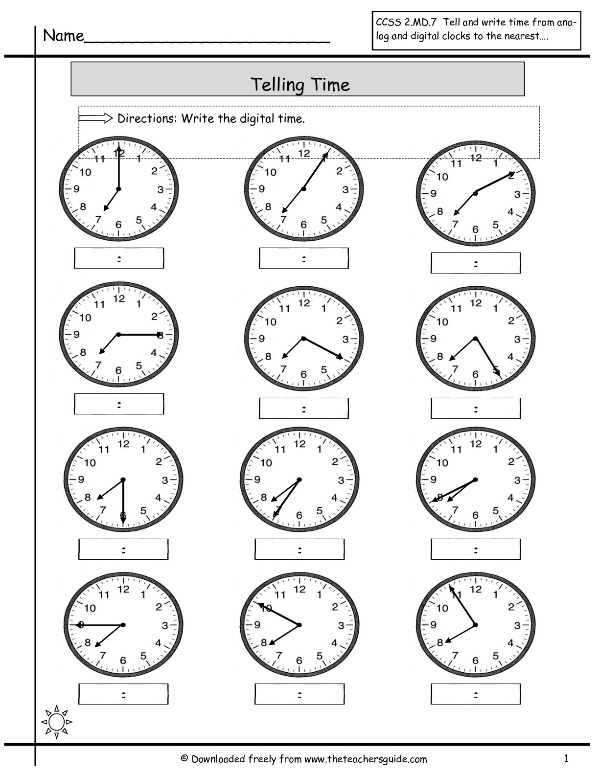 Telling Time Worksheets Printable