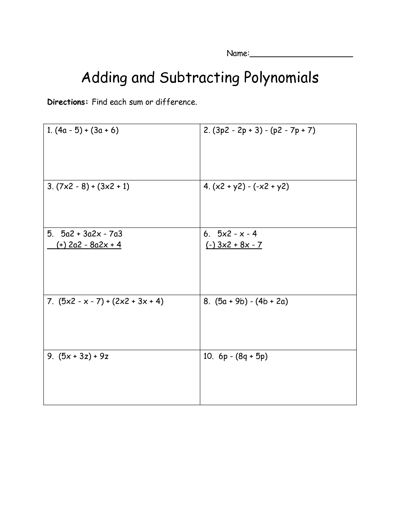 13 Best Images Of Adding Polynomials Worksheet Printable