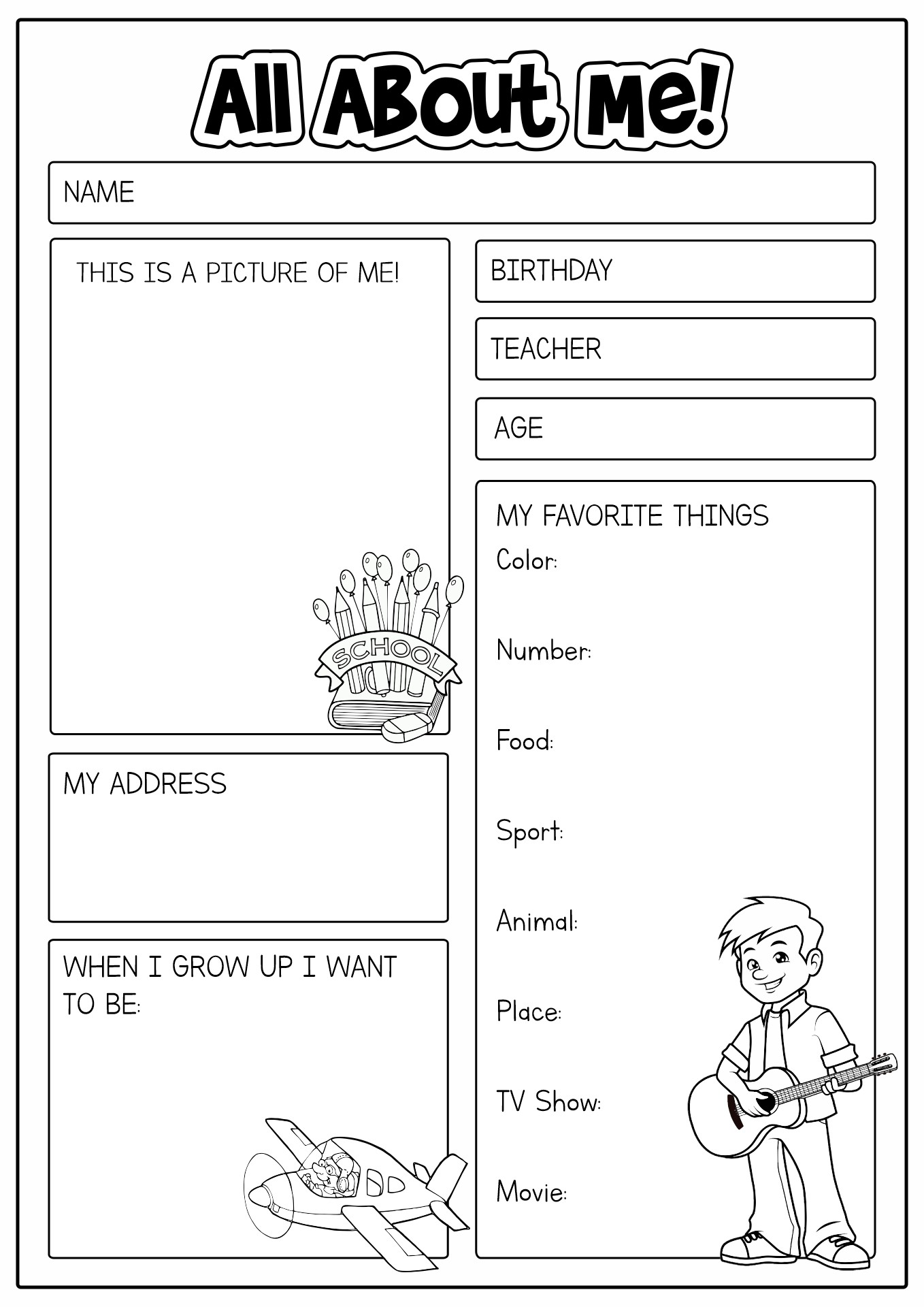 14 Best Images Of All About Me Printable Worksheet For