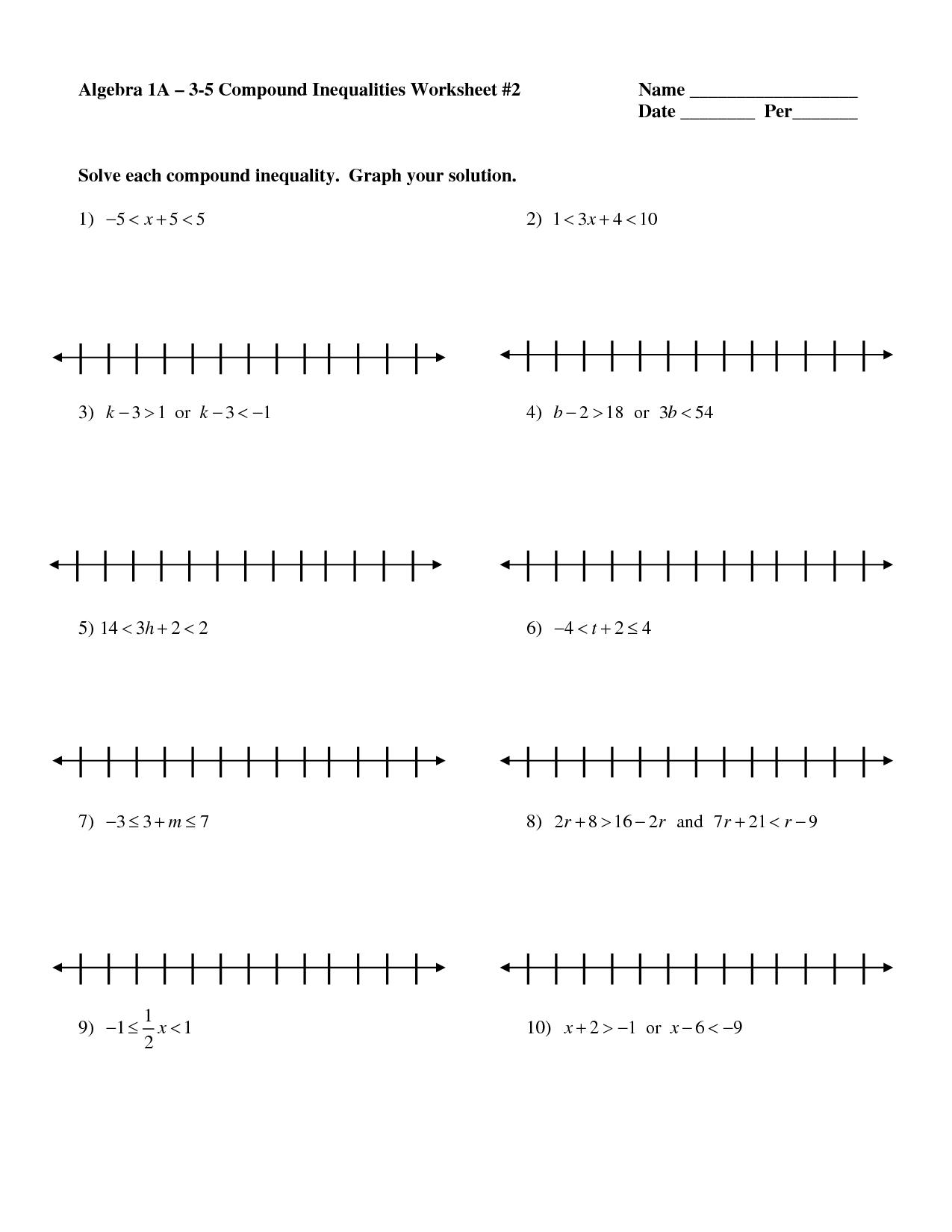 Compound Inequalities Worksheet Algebra 1