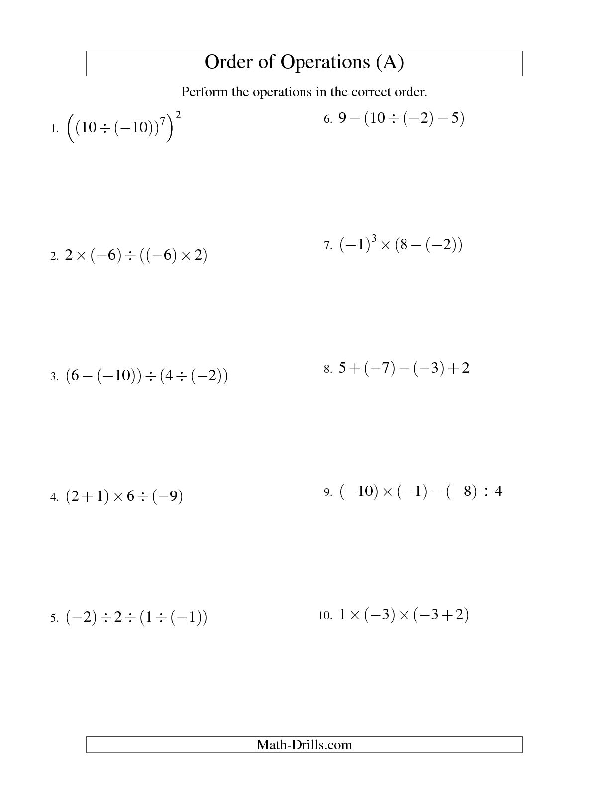 Printable Pemdas Worksheet Answers
