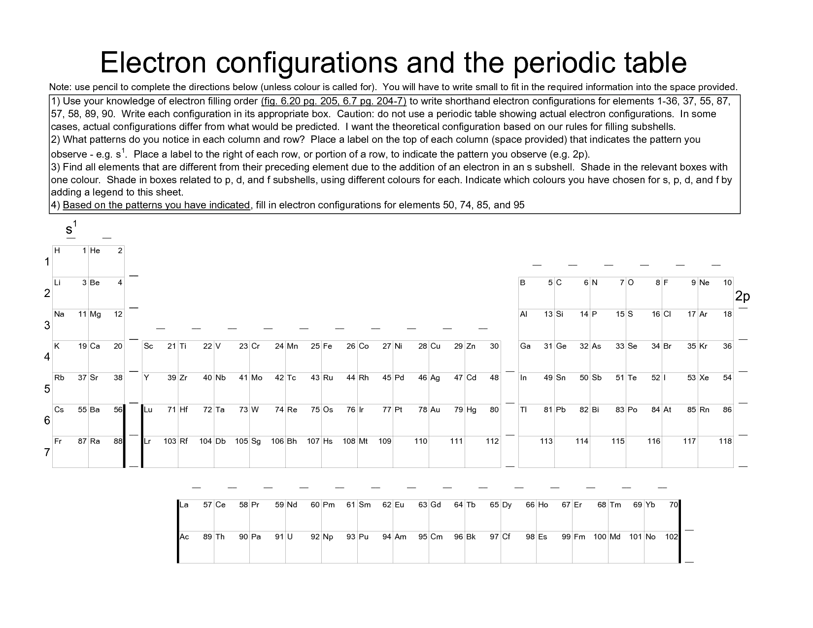 More Electron Configuration Worksheet Answers